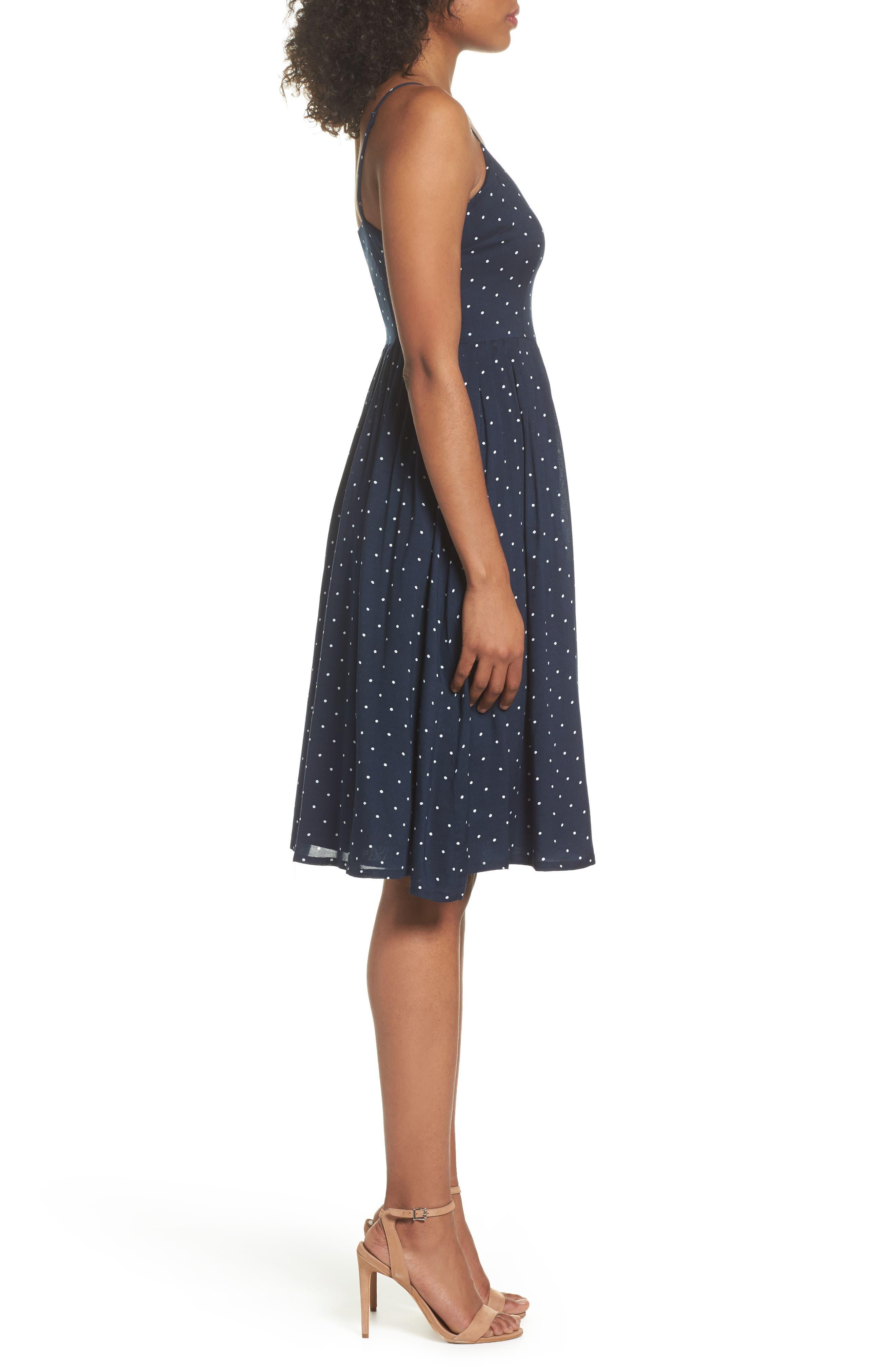 Sloane Polka Dot Dress,                             Alternate thumbnail 3, color,                             410