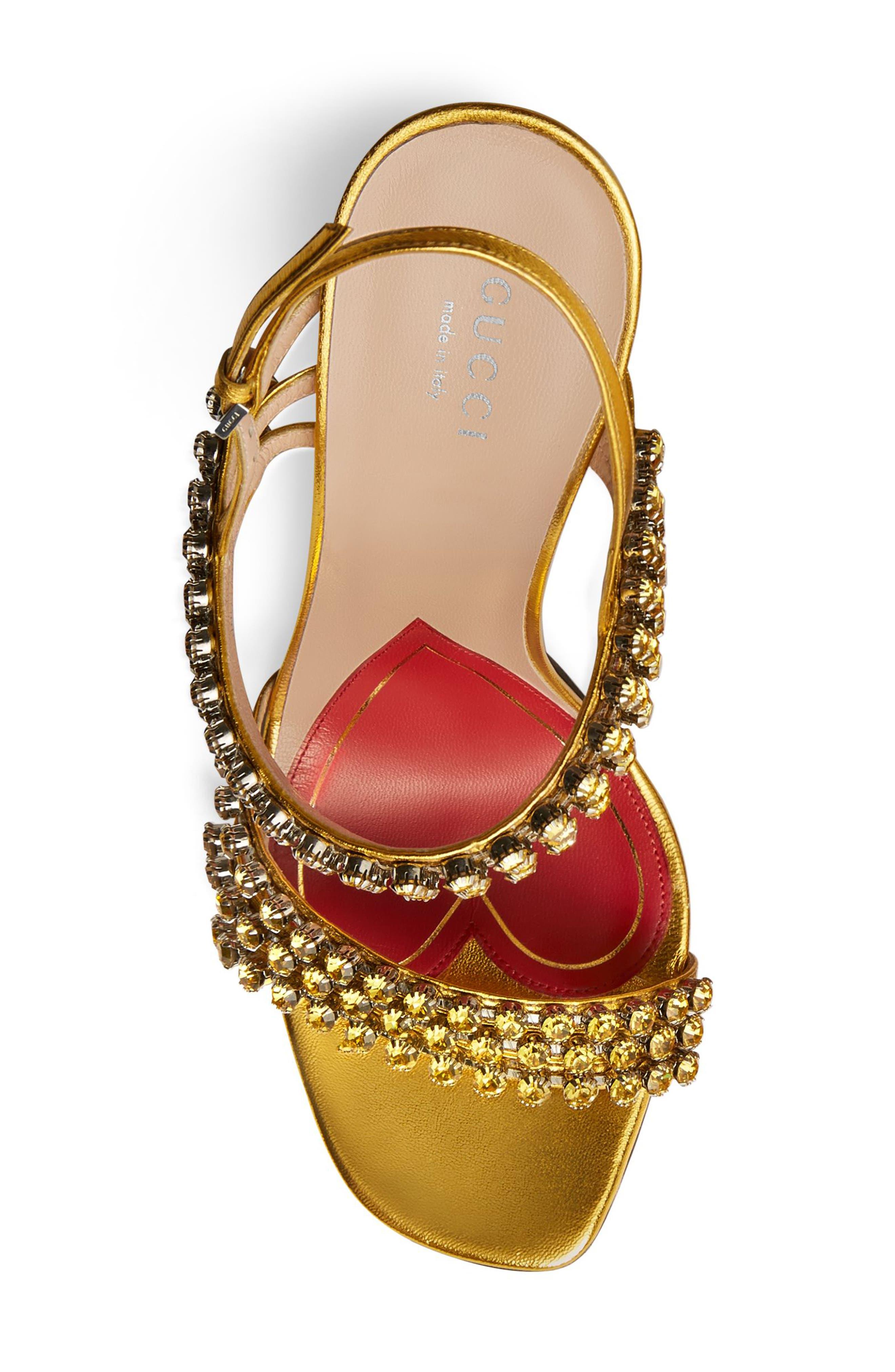 Bertie Jewel Sandal,                             Alternate thumbnail 4, color,                             GOLD LEATHER