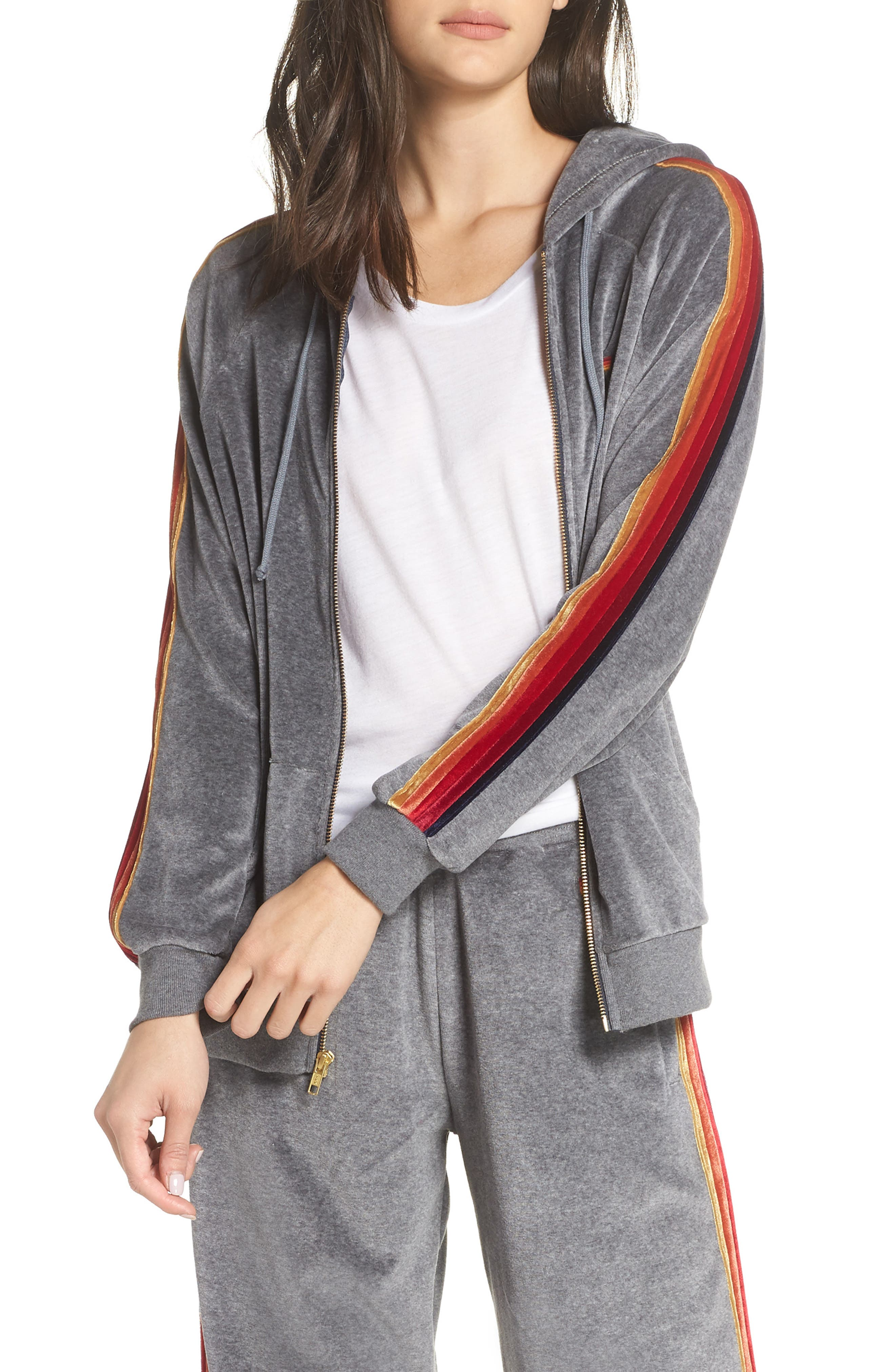 AVIATOR NATION Classic Velour Hoodie Jacket in Heather Grey