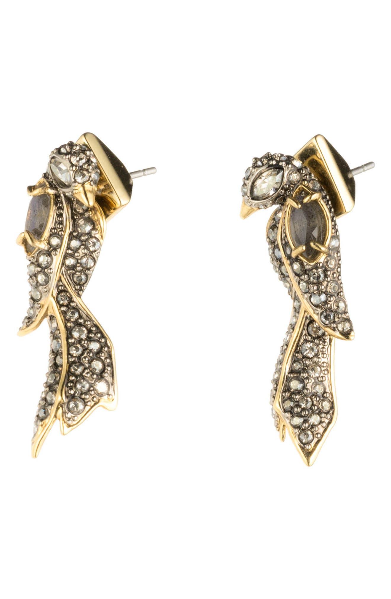 Lovebird Post Earrings,                             Alternate thumbnail 2, color,                             GOLD/ SILVER