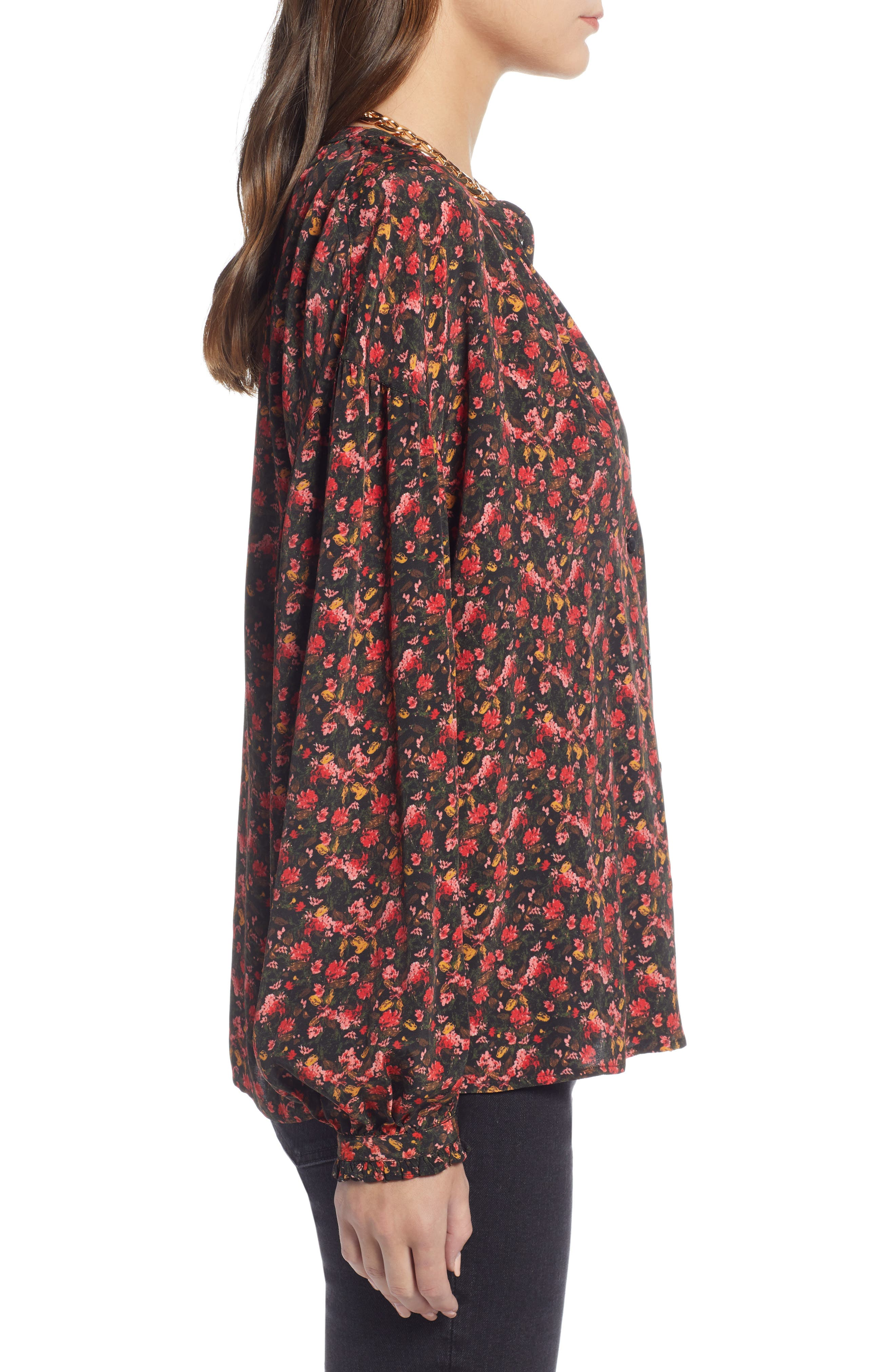 Easy Volume Top,                             Alternate thumbnail 4, color,                             RED BLAZE PAINTERLY FLORAL