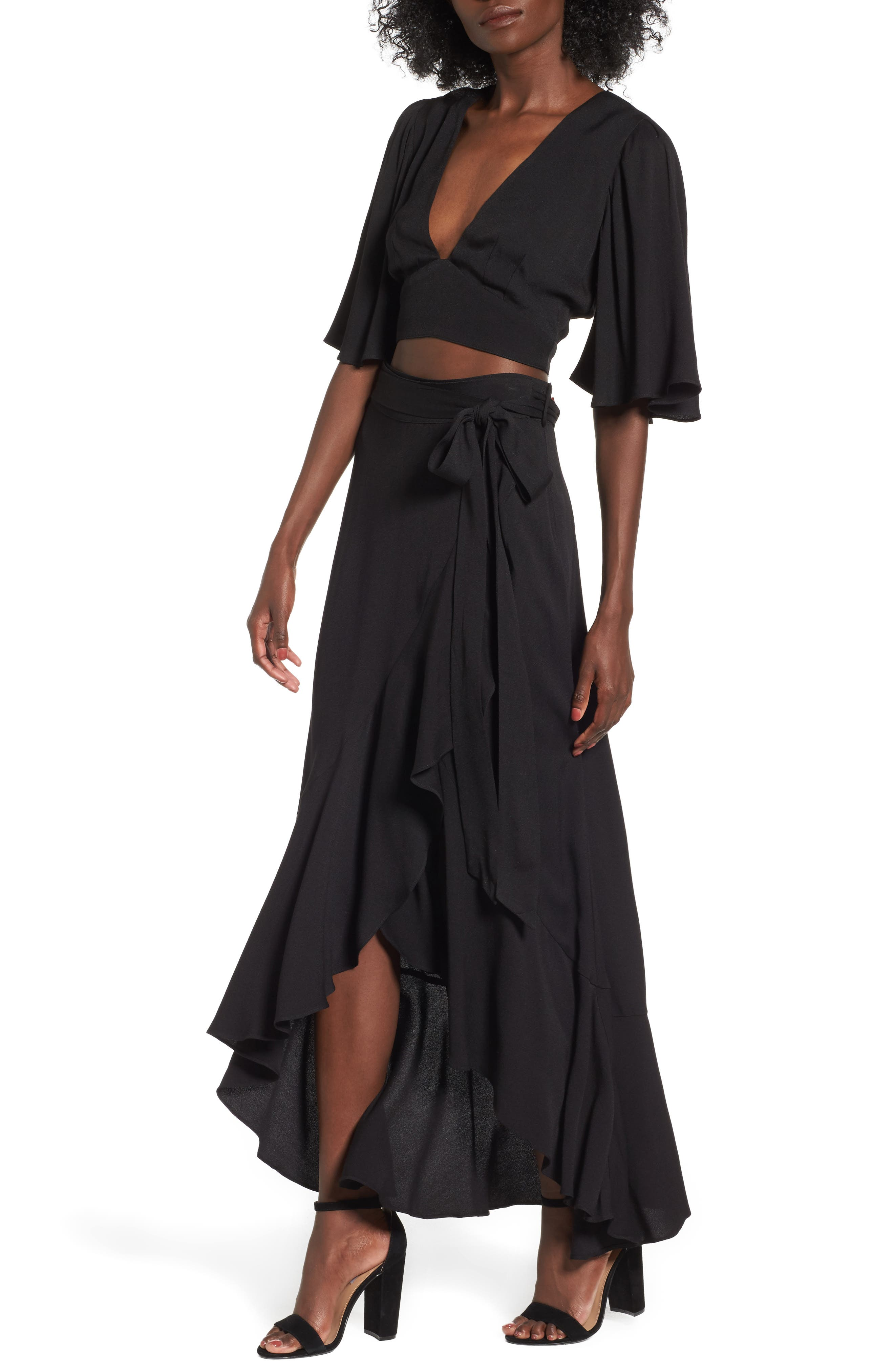 Amelia Ruffle Wrap Skirt,                             Alternate thumbnail 4, color,                             001