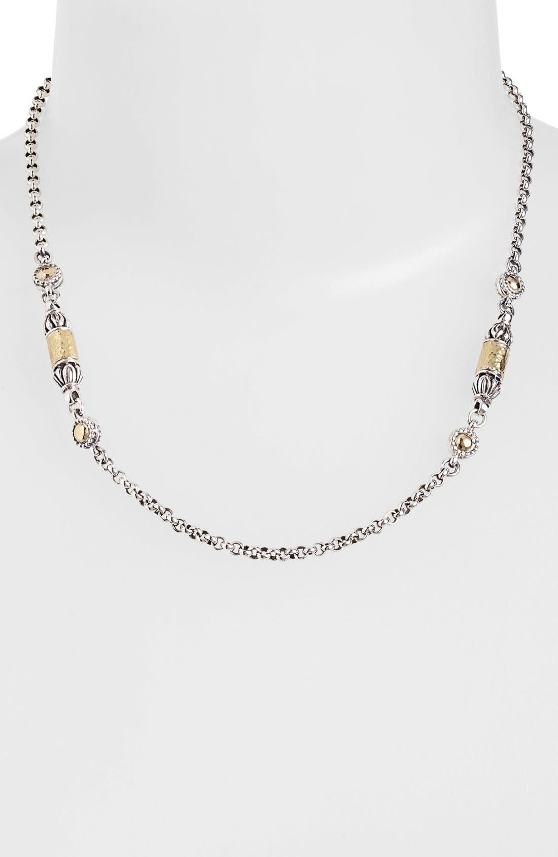 'Classics' Two-Tone Hammered Station Necklace,                             Alternate thumbnail 2, color,                             SILVER/ GOLD