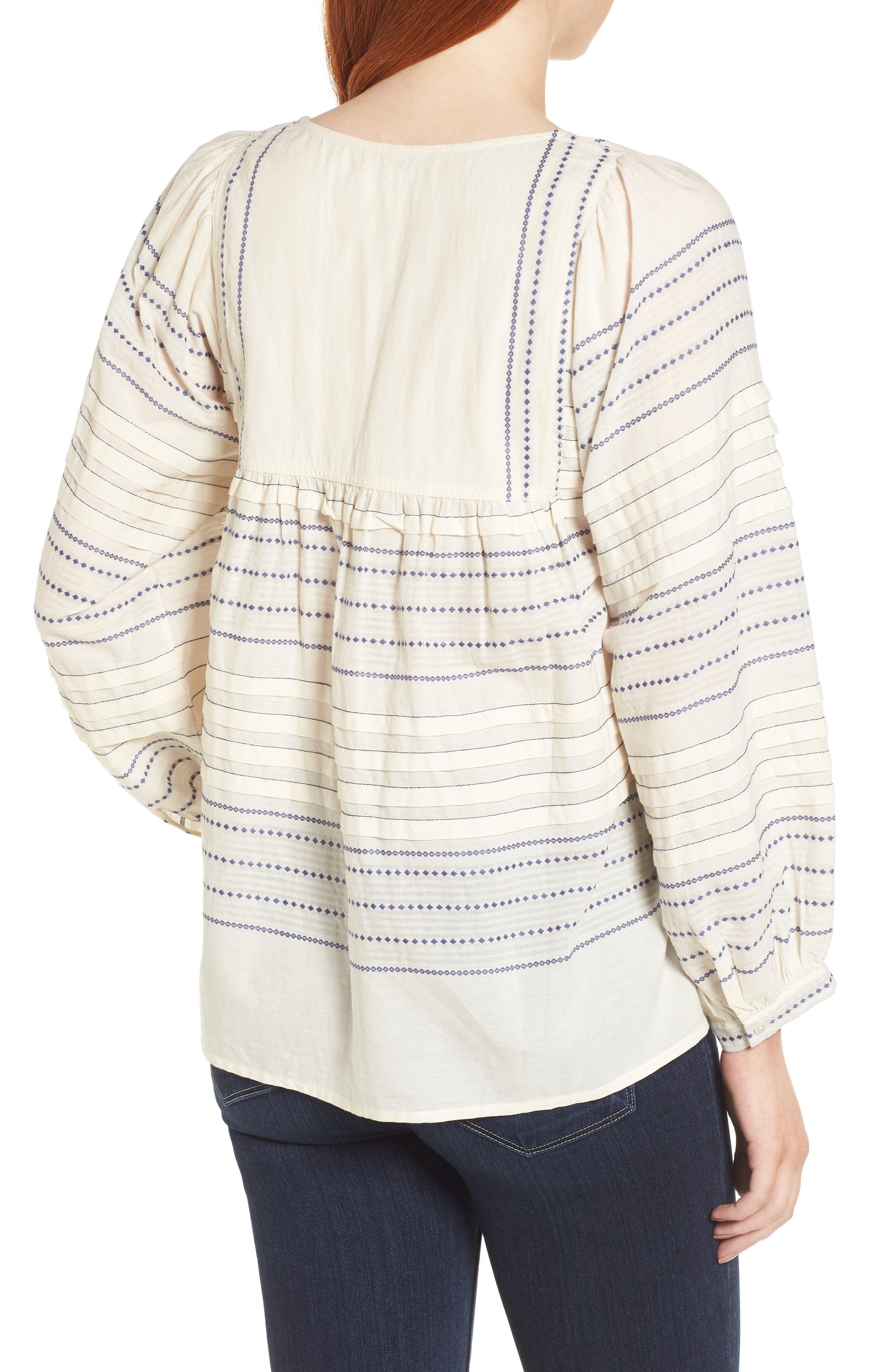 Paros Embroidered Cotton Peasant Blouse,                             Alternate thumbnail 2, color,                             906