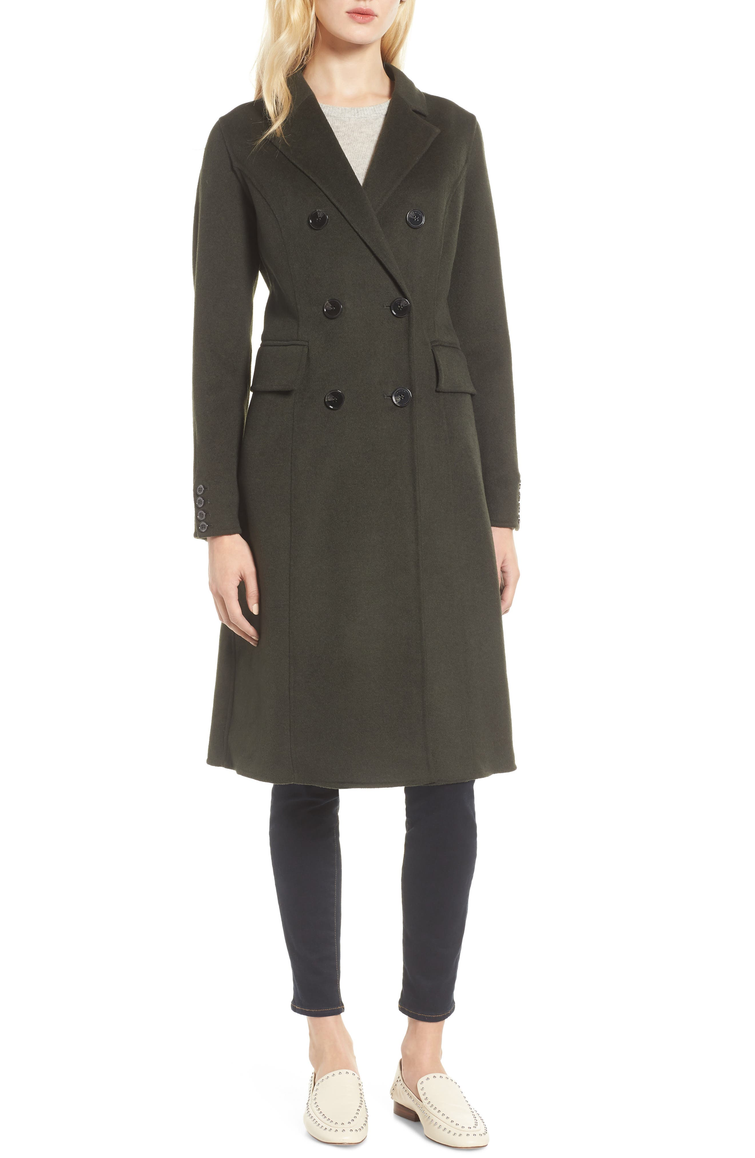 Taylor Double Breasted Wool Coat,                         Main,                         color, 300