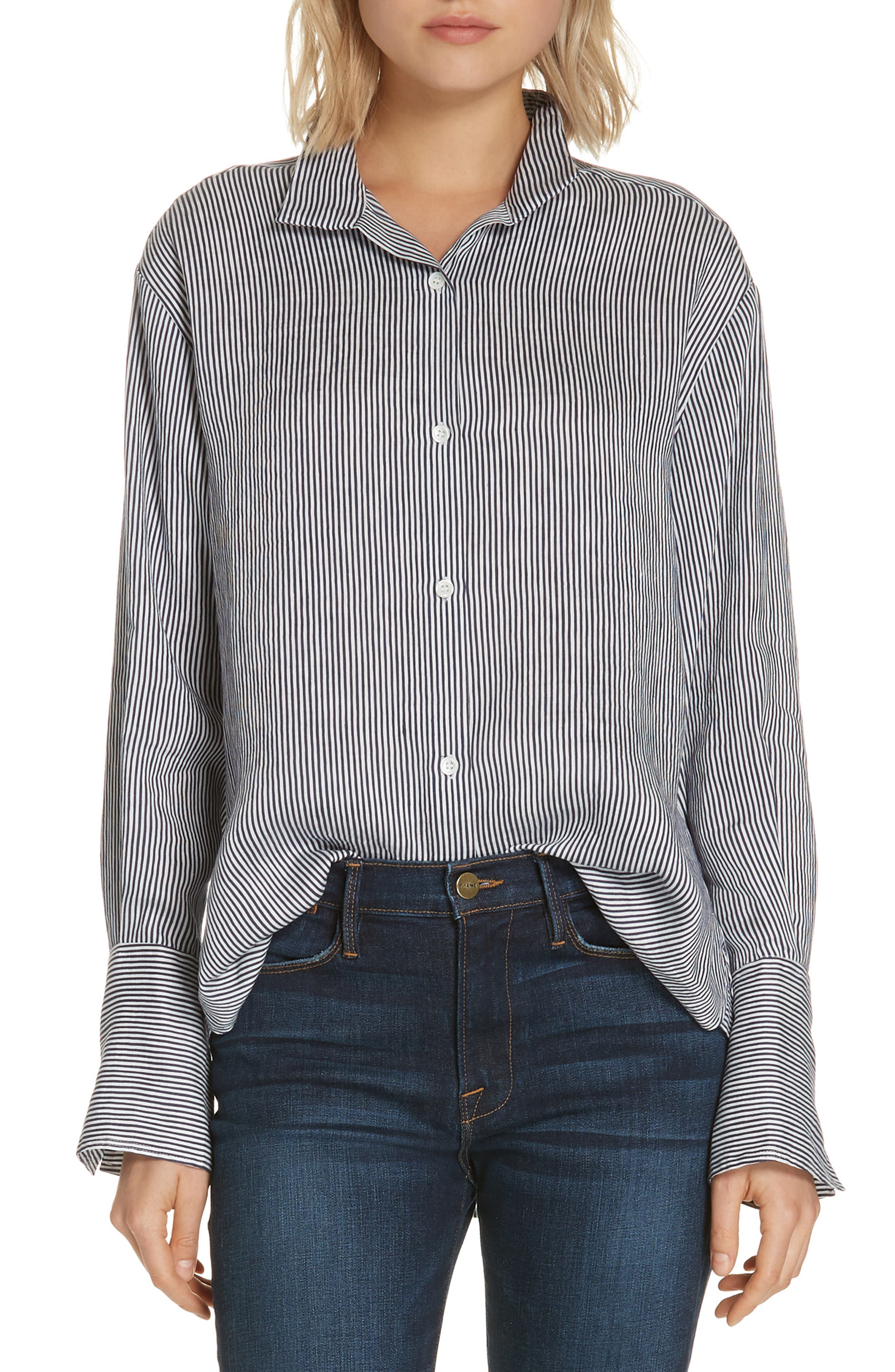 FRAME Clean-Collared Striped Linen Button-Down Shirt in Multi