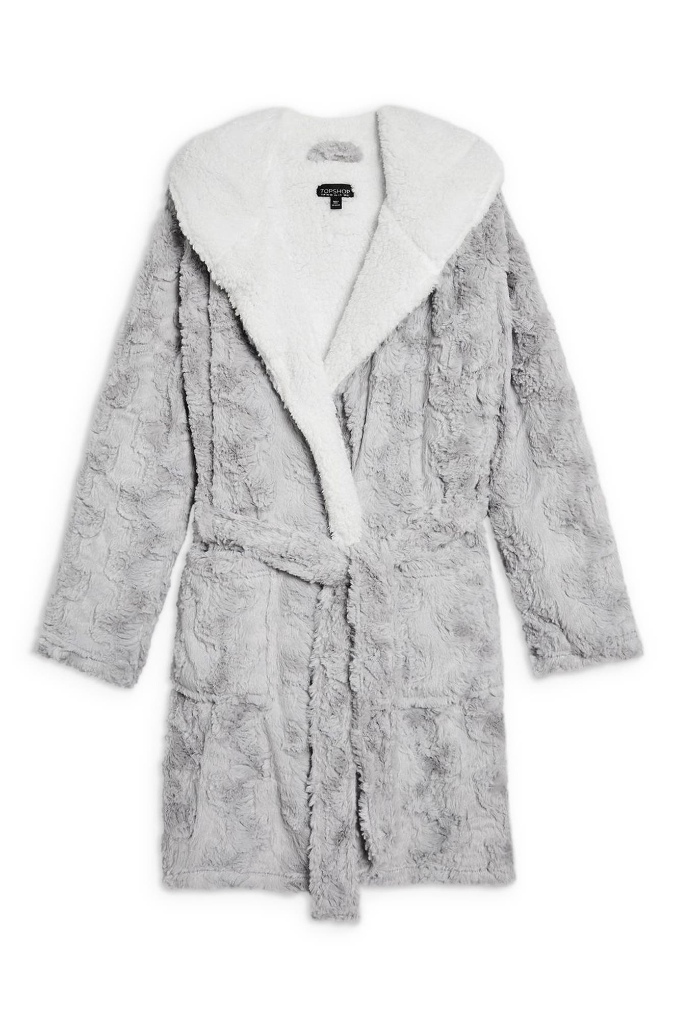 TOPSHOP,                             Squiggle Faux Fur Fluffy Robe,                             Alternate thumbnail 3, color,                             020