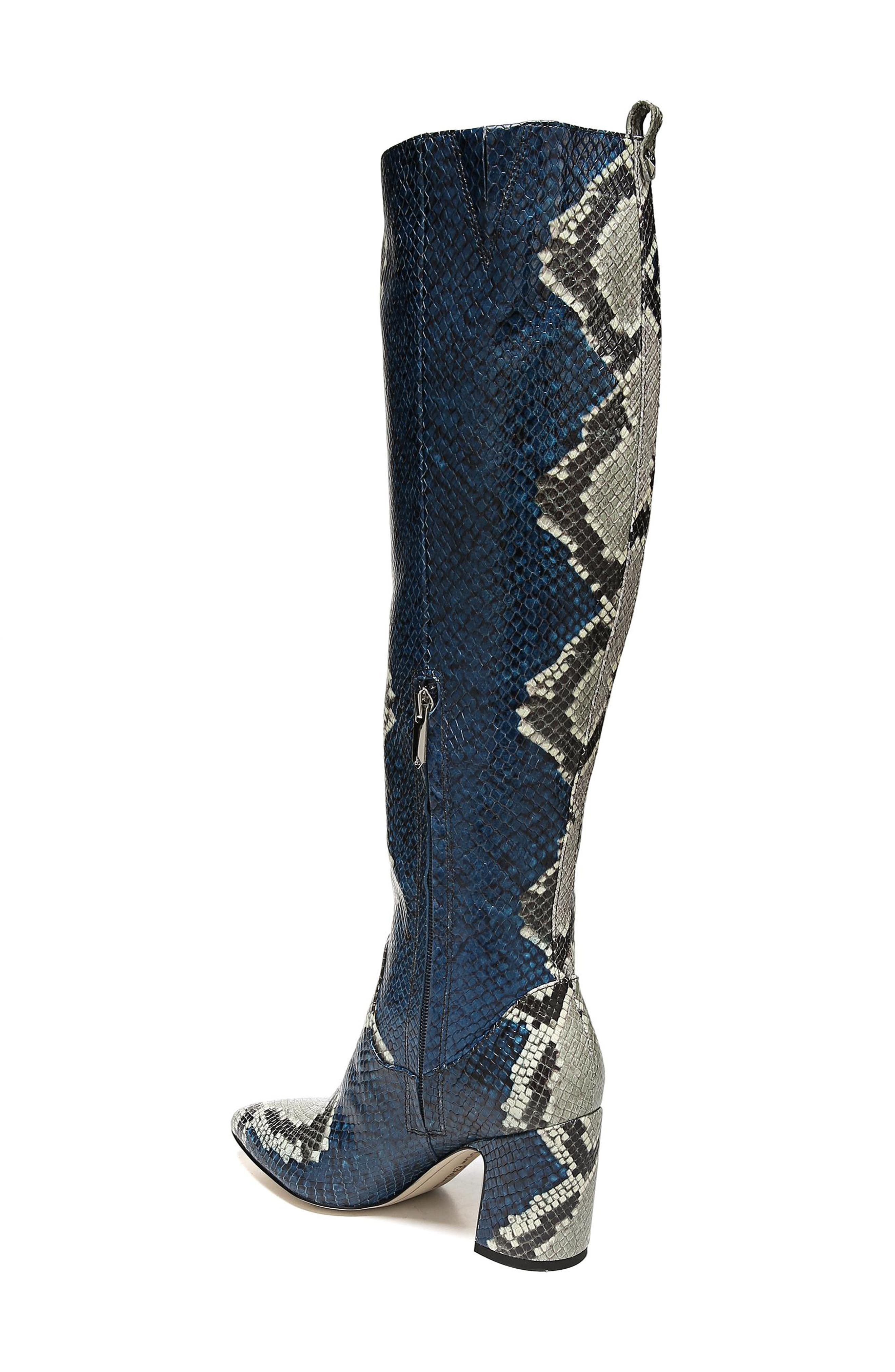 Hai Knee High Boot,                             Alternate thumbnail 2, color,                             PEACOCK EMBOSSED LEATHER