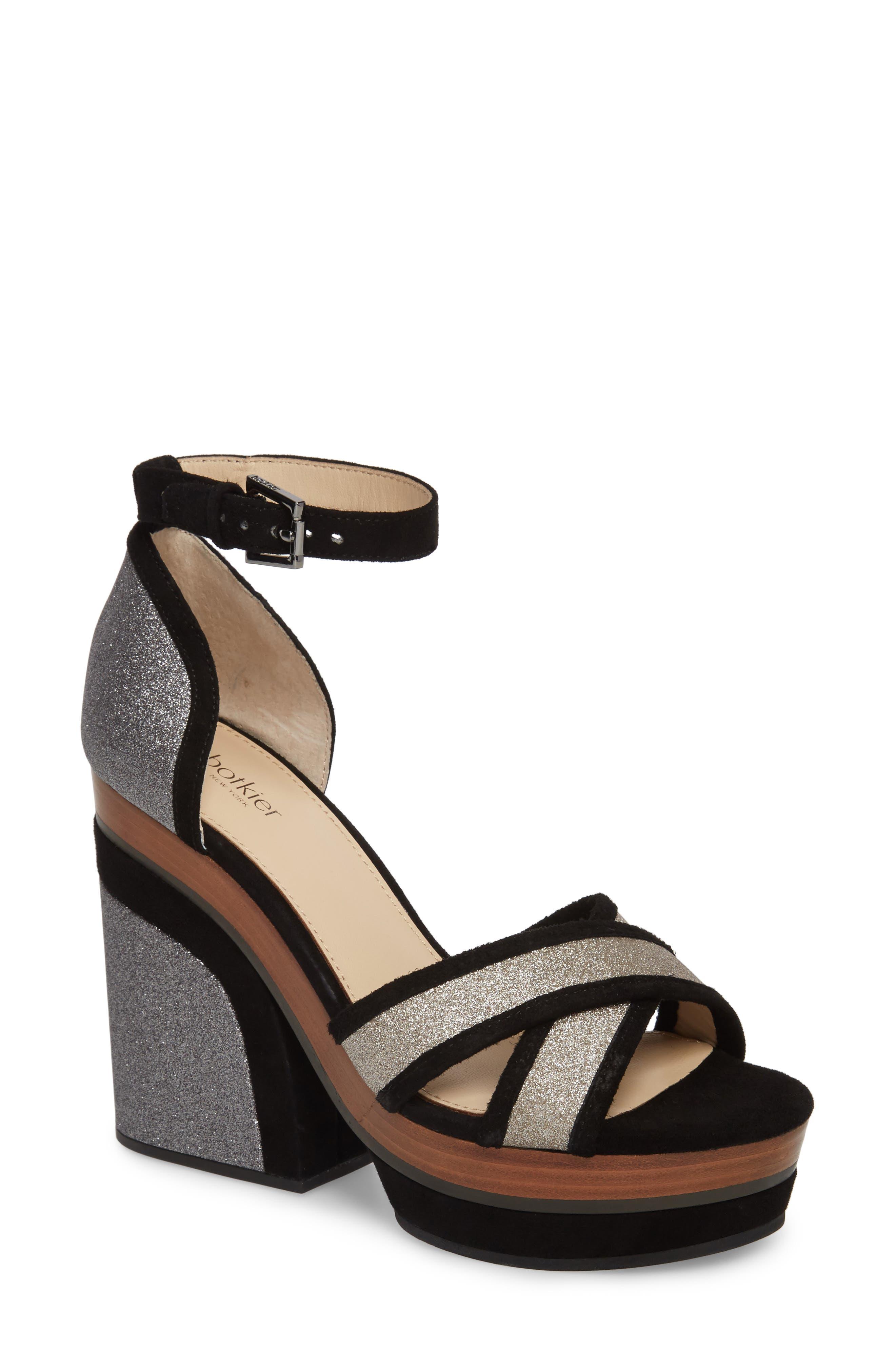 Paloma Ankle Strap Sandal,                             Main thumbnail 1, color,                             GUNMETAL GLITTER