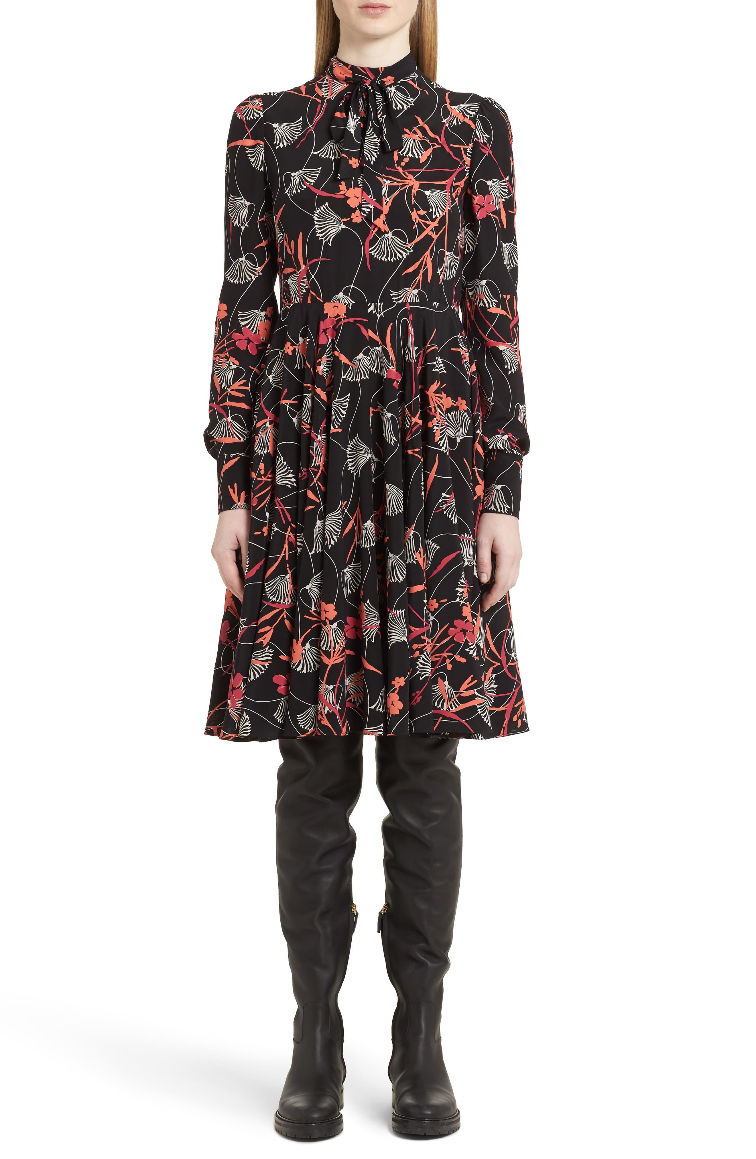 Lotus Print Tie Neck Dress,                         Main,                         color, 001