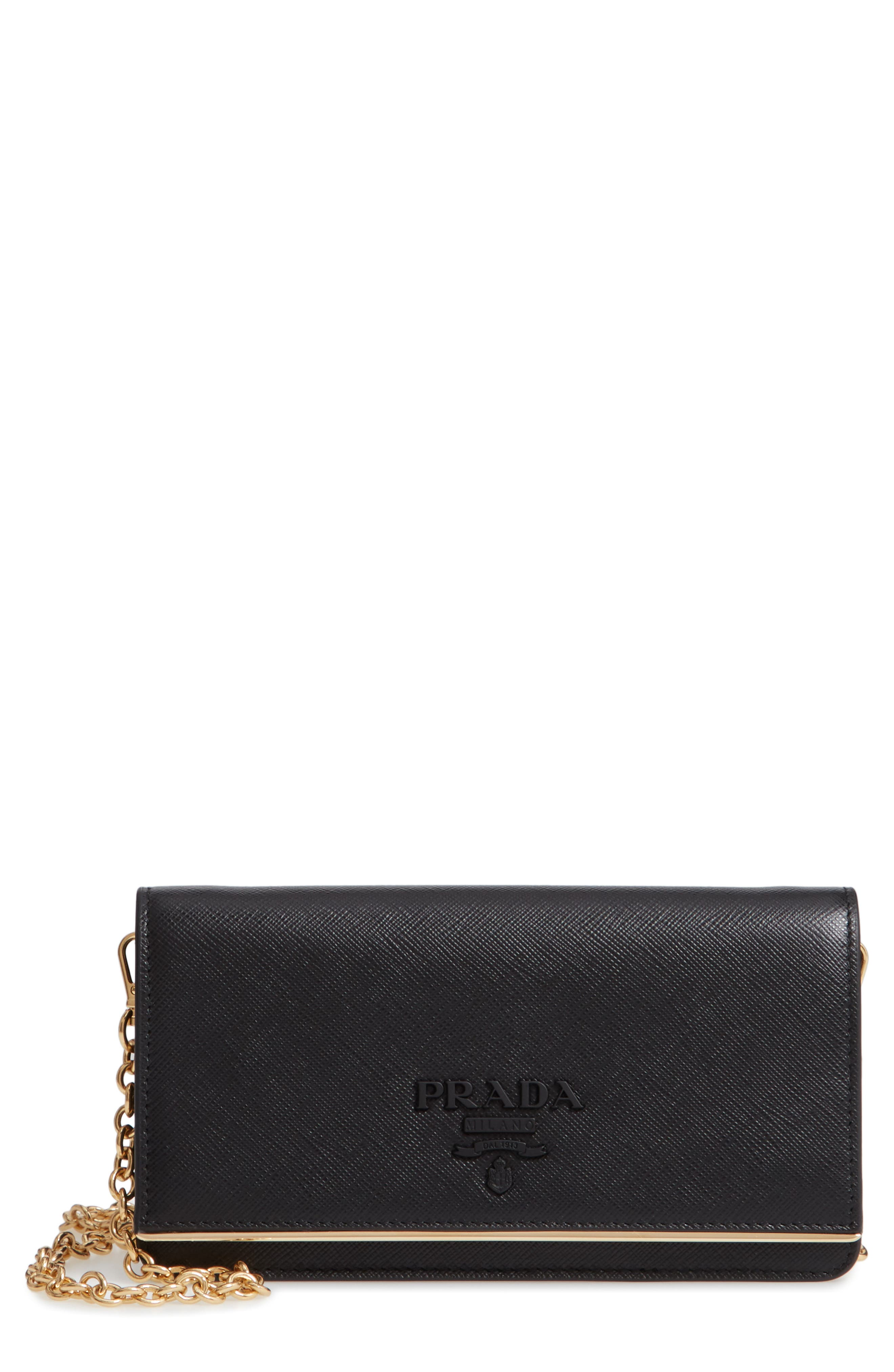 Leather Wallet on a Chain,                         Main,                         color, NERO