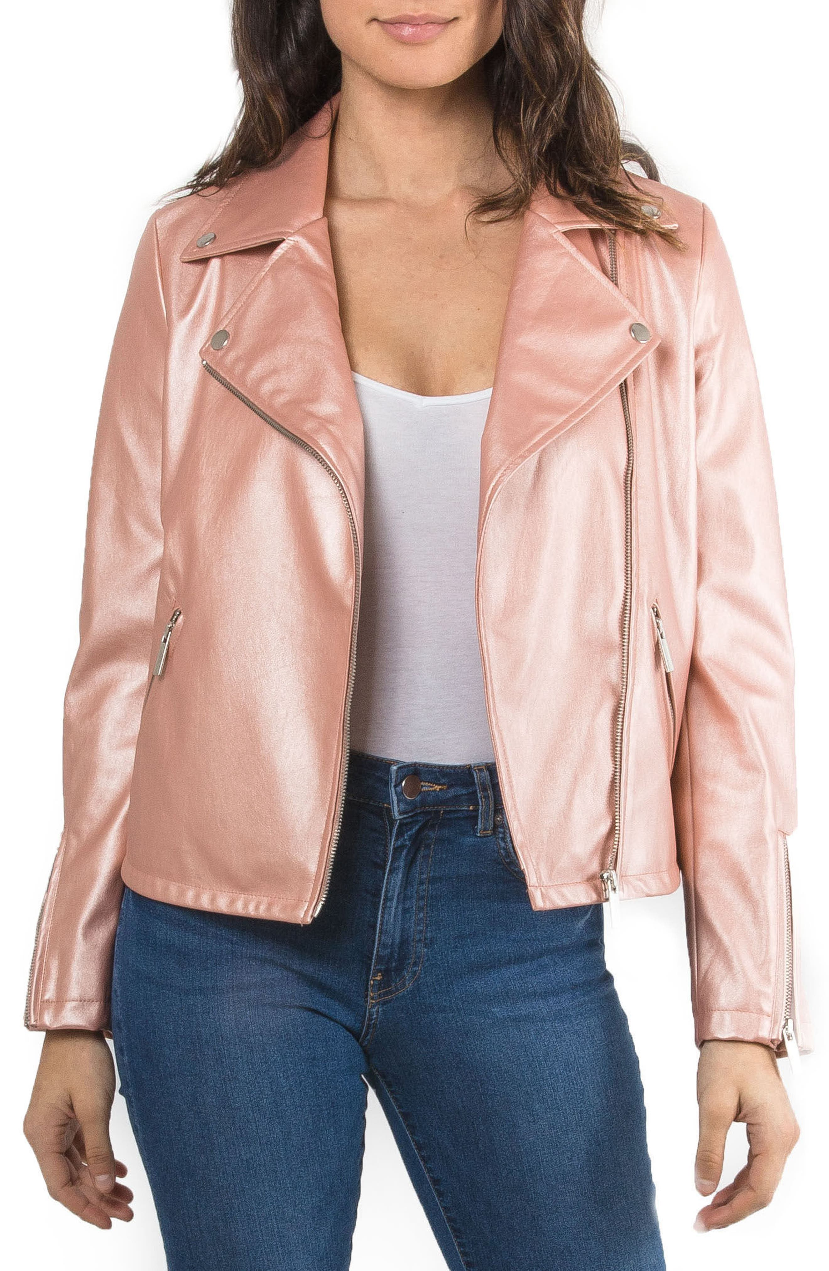 Metallic Faux Leather Biker Jacket,                             Main thumbnail 2, color,