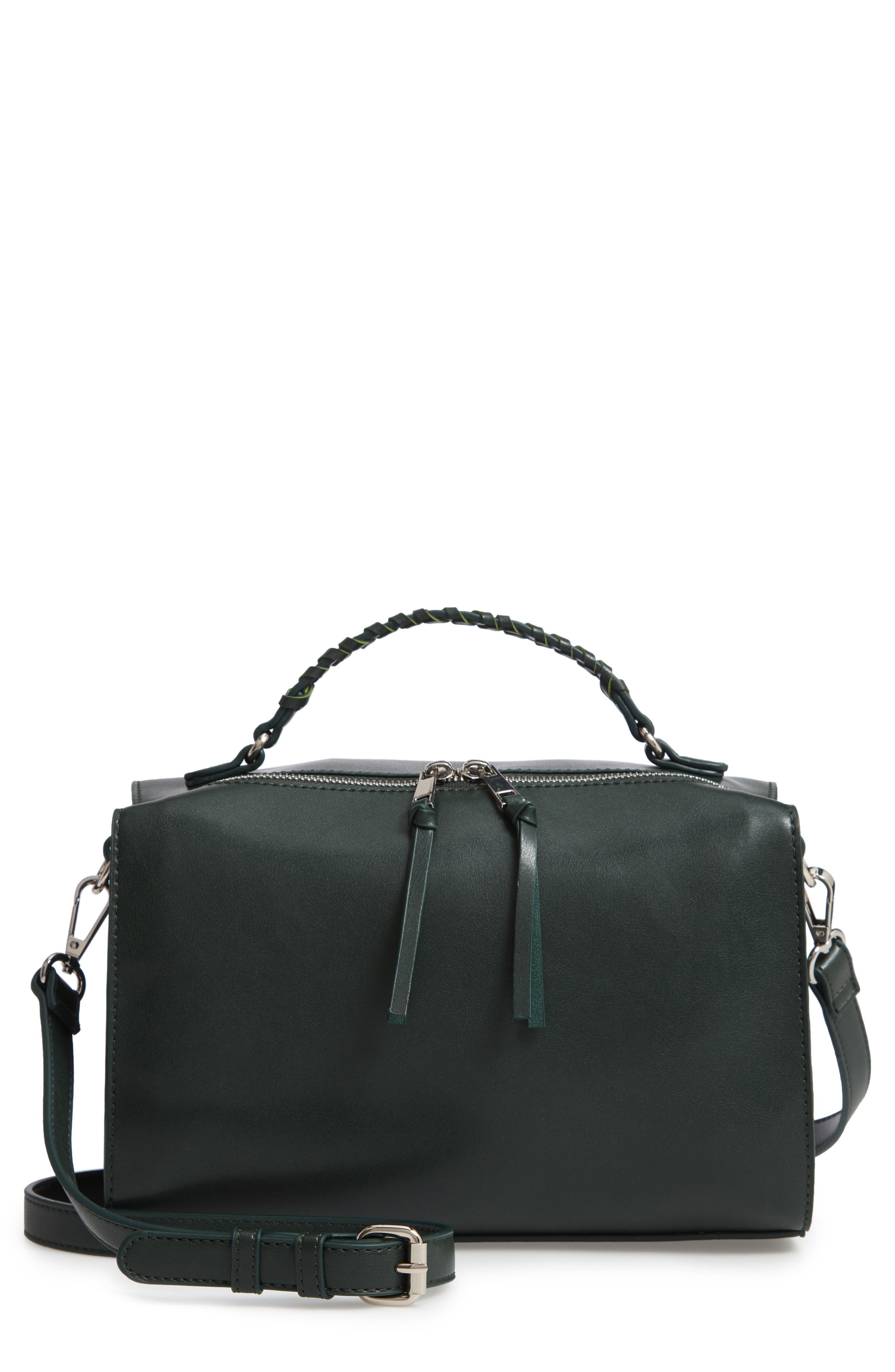 Whipstitch Handle Faux Leather Crossbody Bag,                         Main,                         color, DARK GREEN