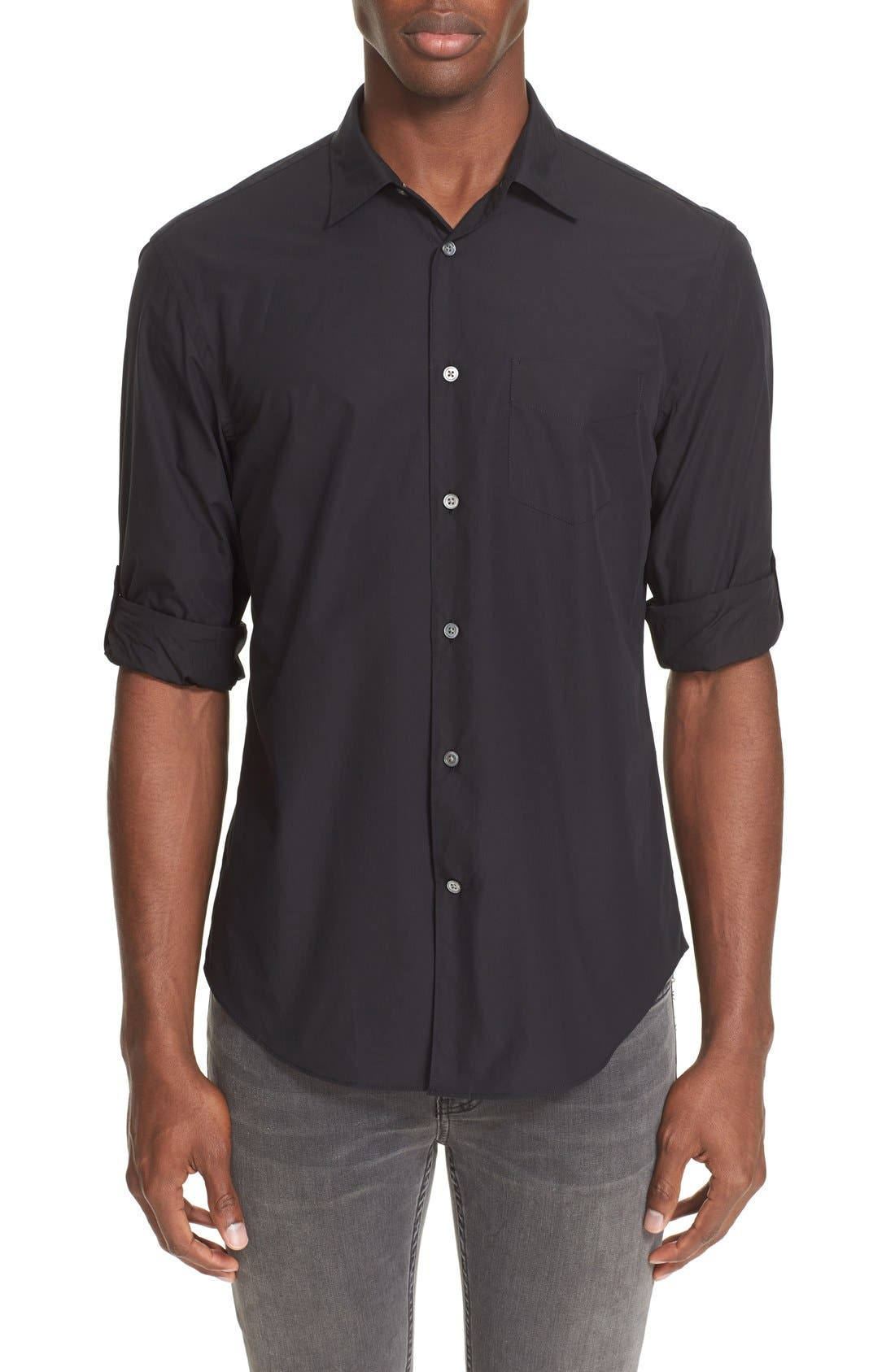 Slim Fit Sport Shirt,                             Main thumbnail 1, color,                             BLACK