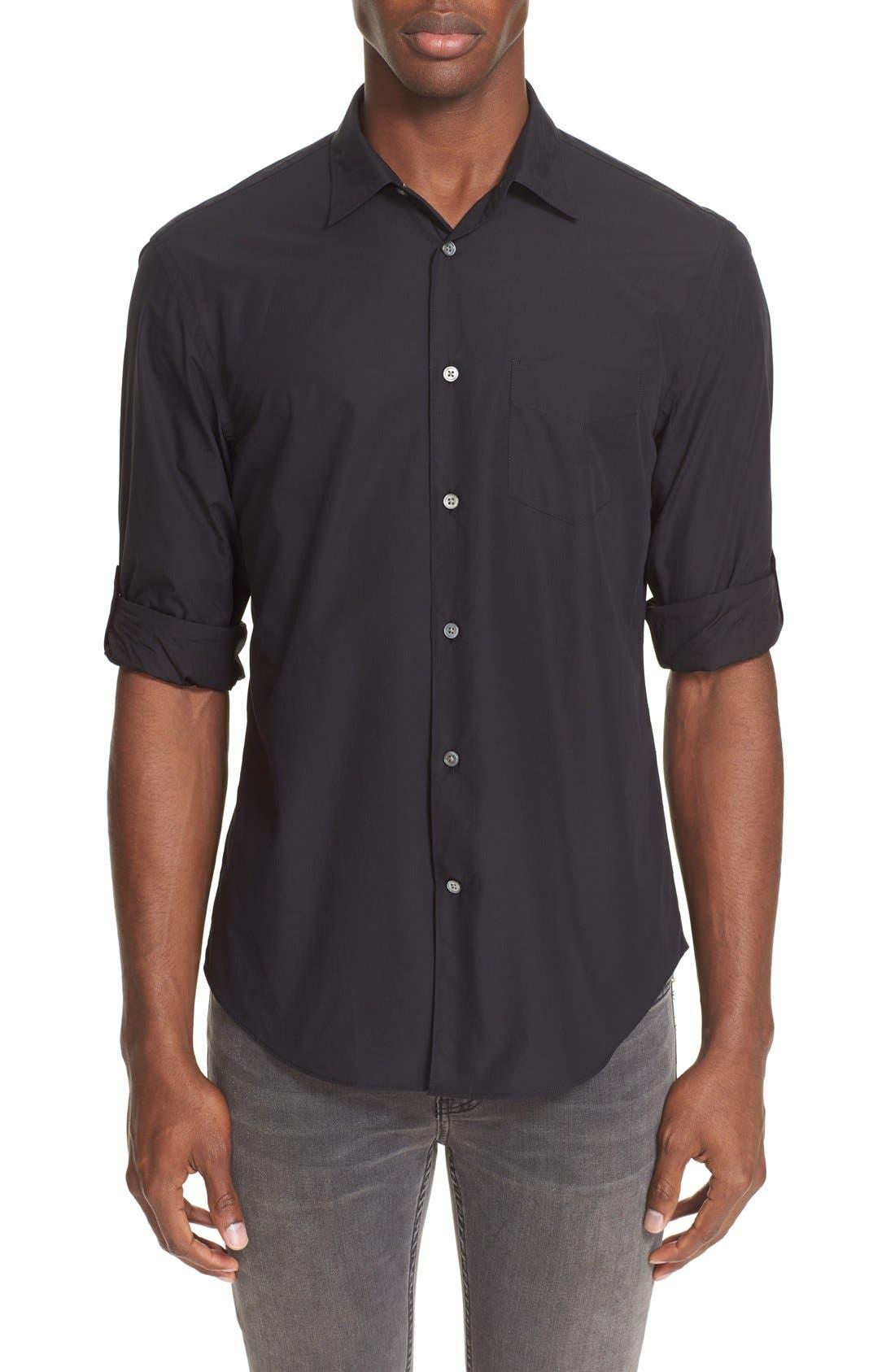 Slim Fit Sport Shirt,                         Main,                         color, BLACK