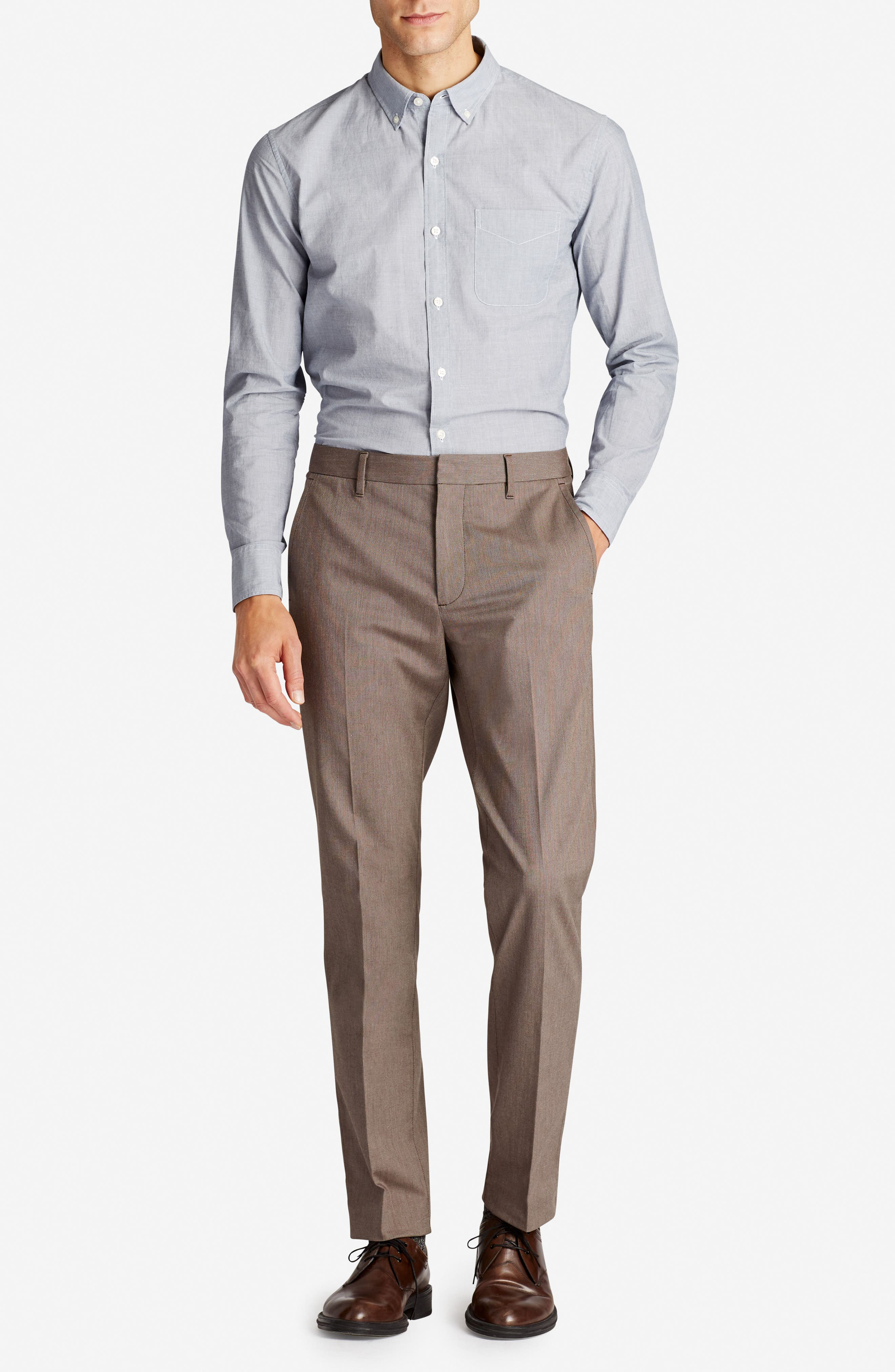 Weekday Warrior Flat Front Stretch Cotton Pants,                             Alternate thumbnail 8, color,                             200