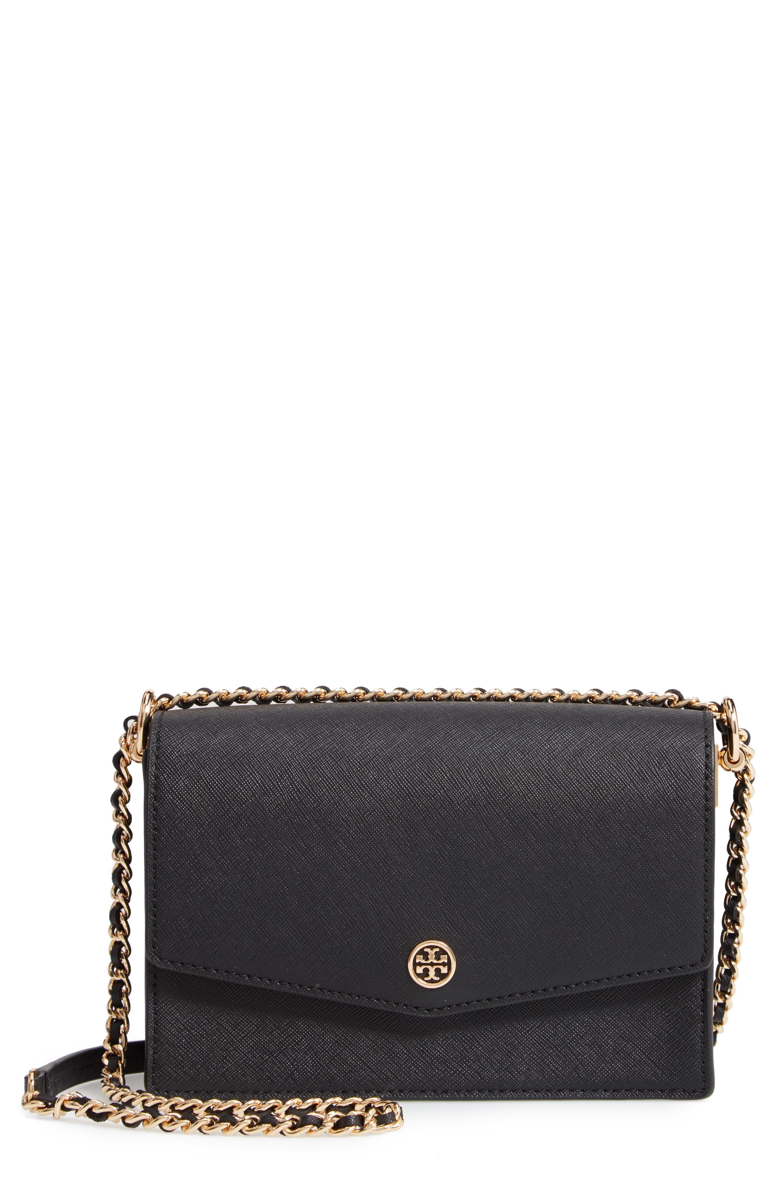 Mini Robinson Convertible Leather Shoulder Bag,                         Main,                         color, BLACK