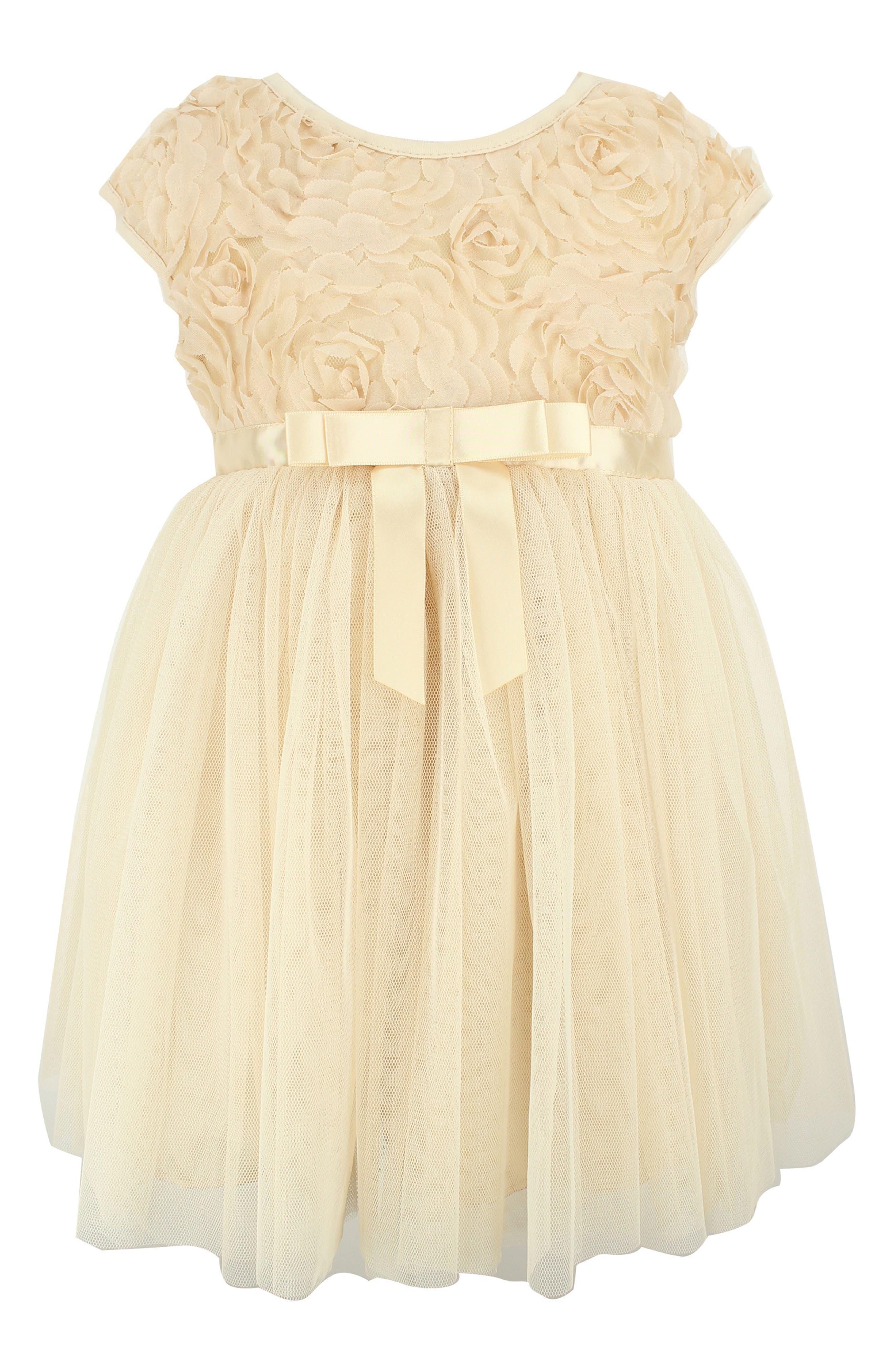 Rosette Tulle Dress, Main, color, IVORY