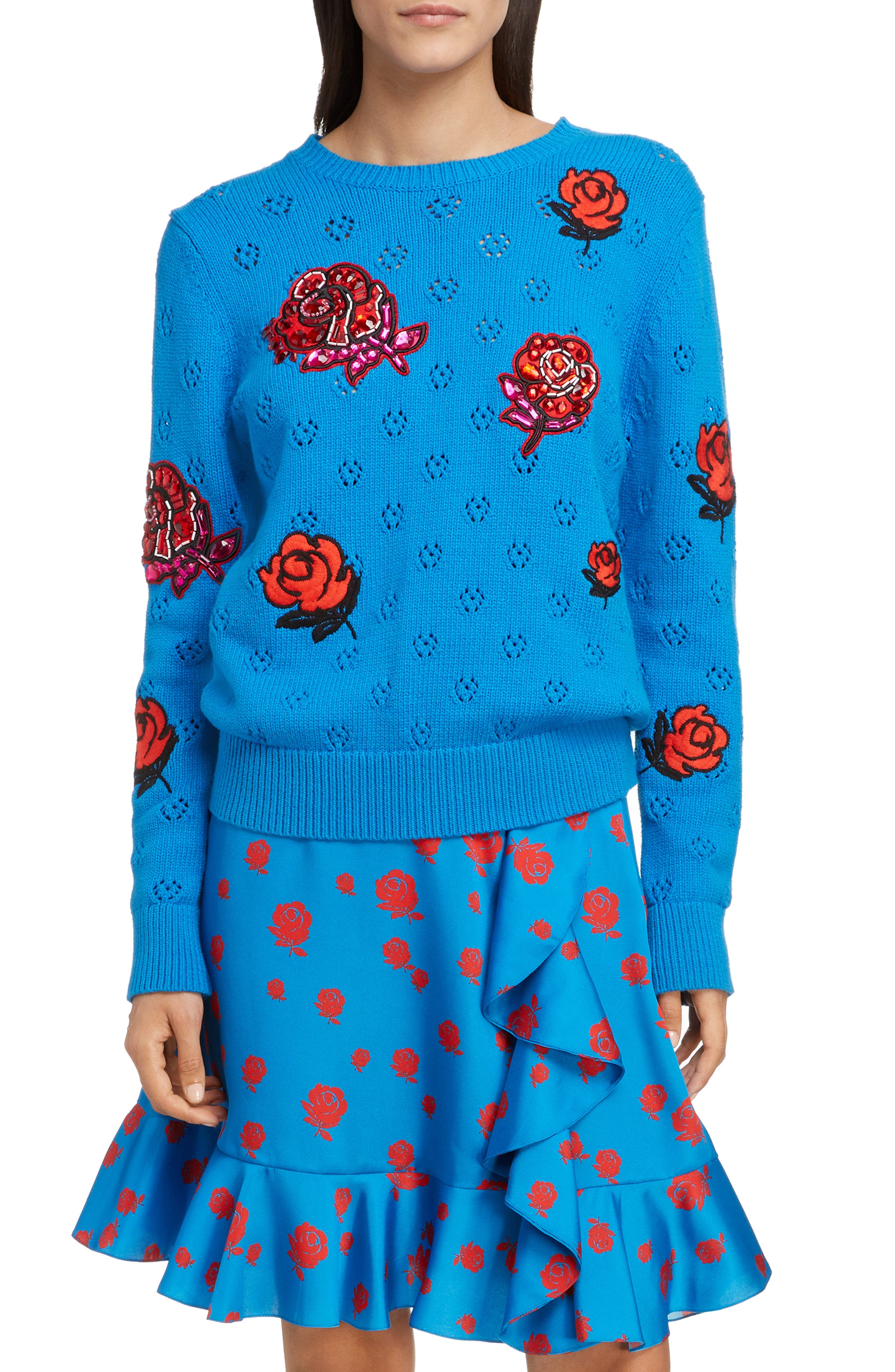Floral Patch Sweater, Main, color, FRENCH BLUE