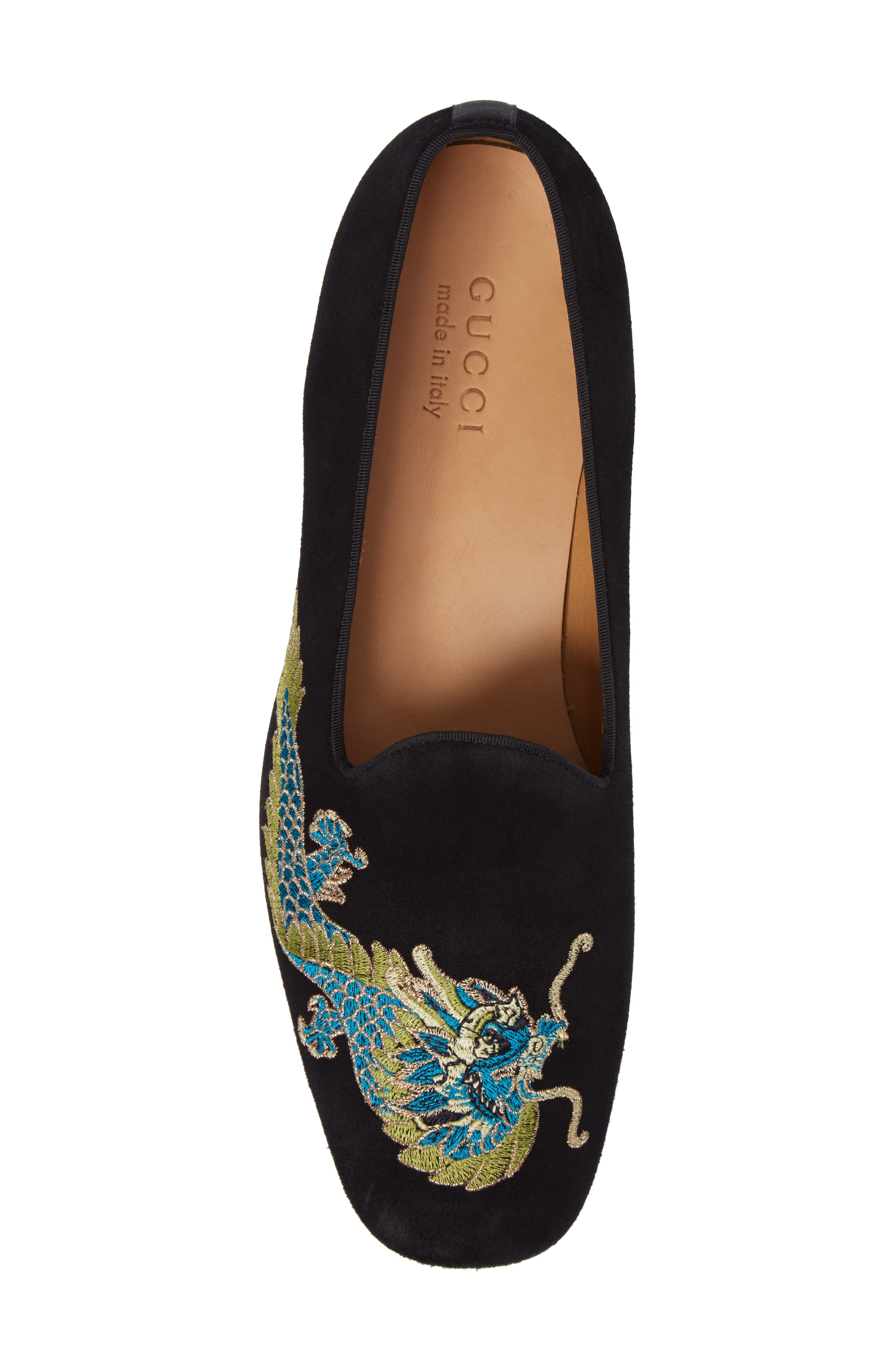 Dragon Embroidered Suede Loafer,                             Alternate thumbnail 5, color,                             BLACK SUEDE