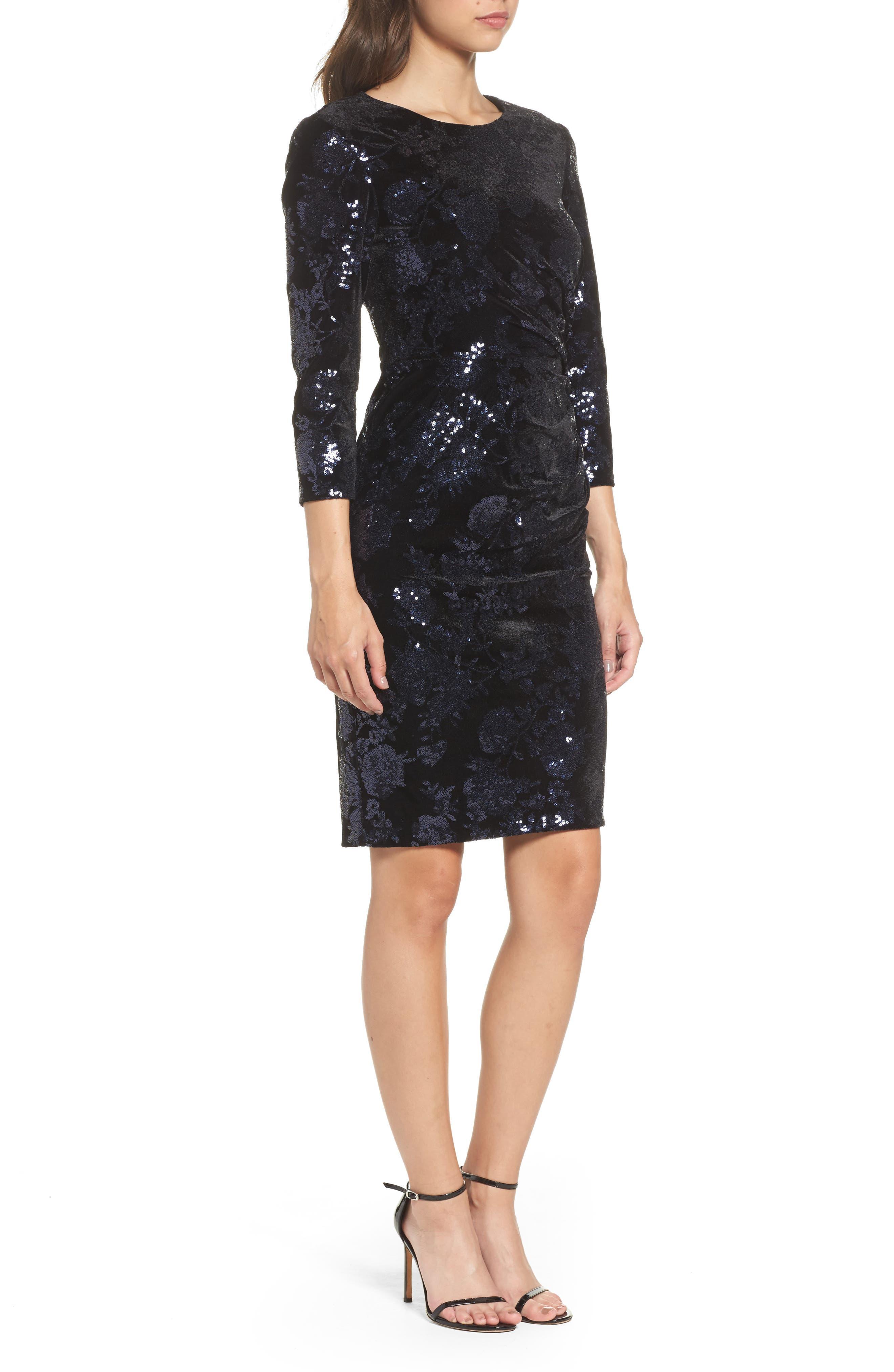 Sequin Embellished Sheath Dress,                             Alternate thumbnail 3, color,                             001