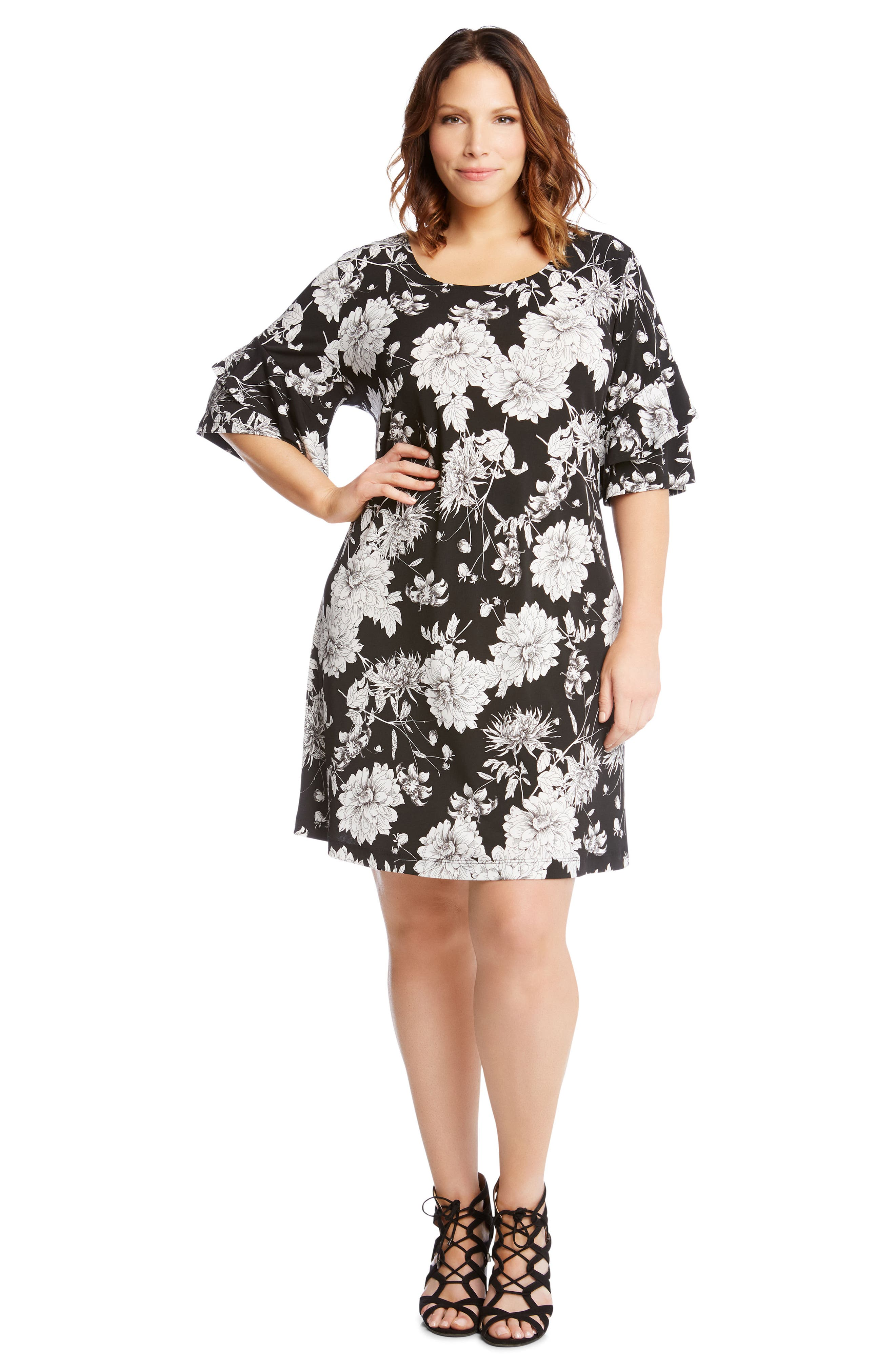 Floral Ruffle Sleeve Shift Dress,                             Alternate thumbnail 4, color,                             400