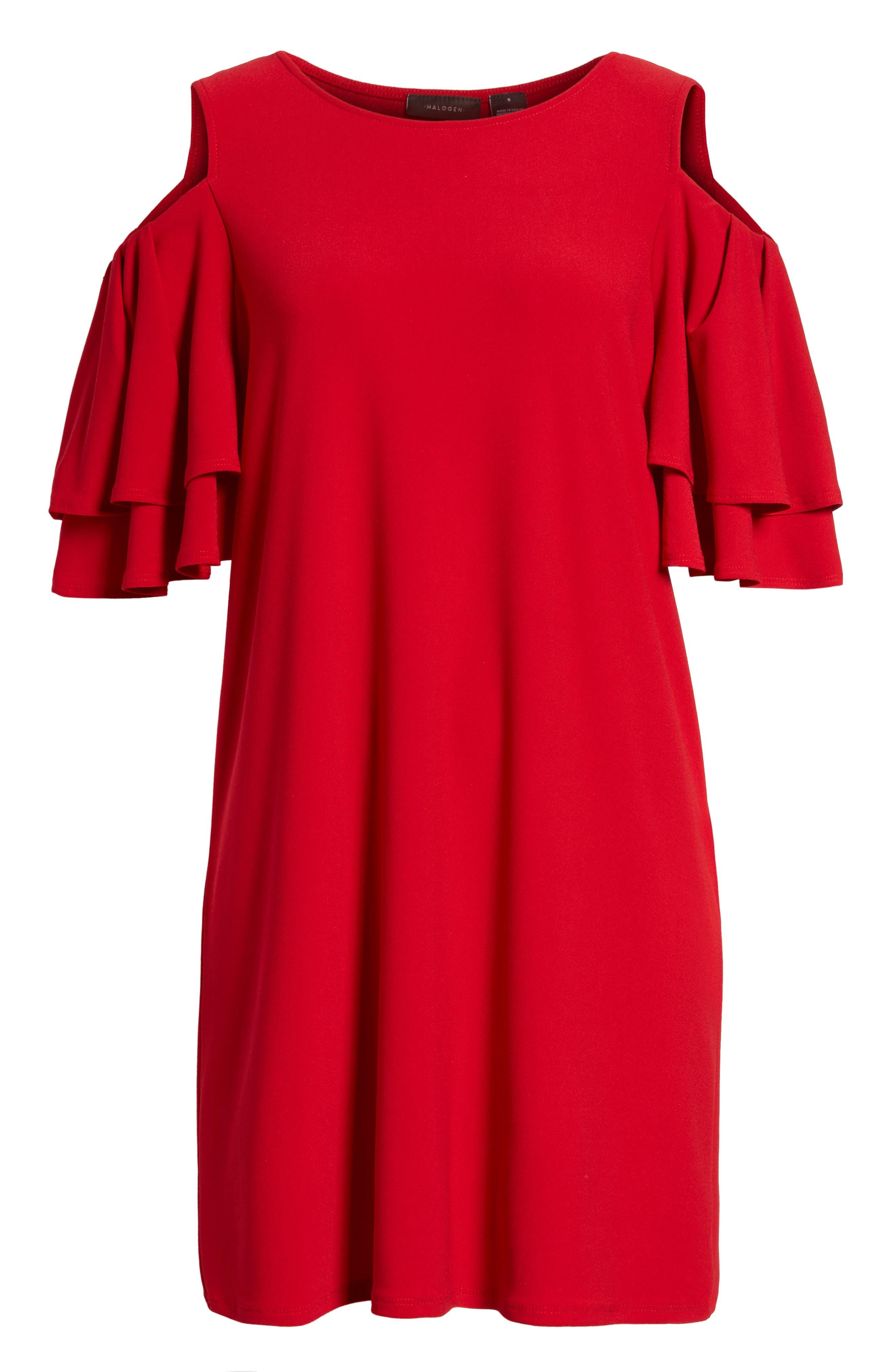 Cold Shoulder Shift Dress,                             Alternate thumbnail 6, color,                             600