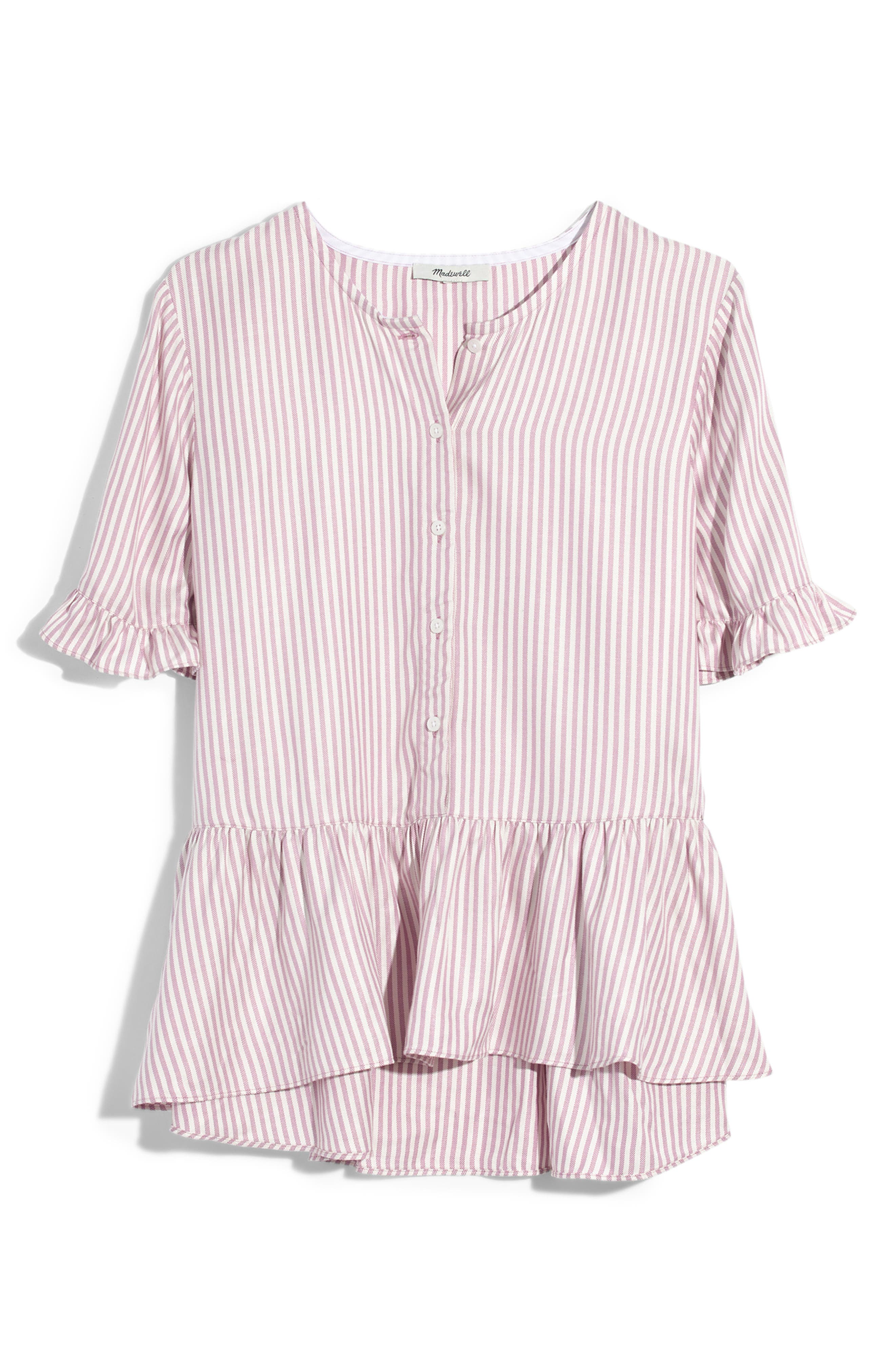 Studio Stripe Ruffle Hem Top,                         Main,                         color, LAVENDER STRIPE