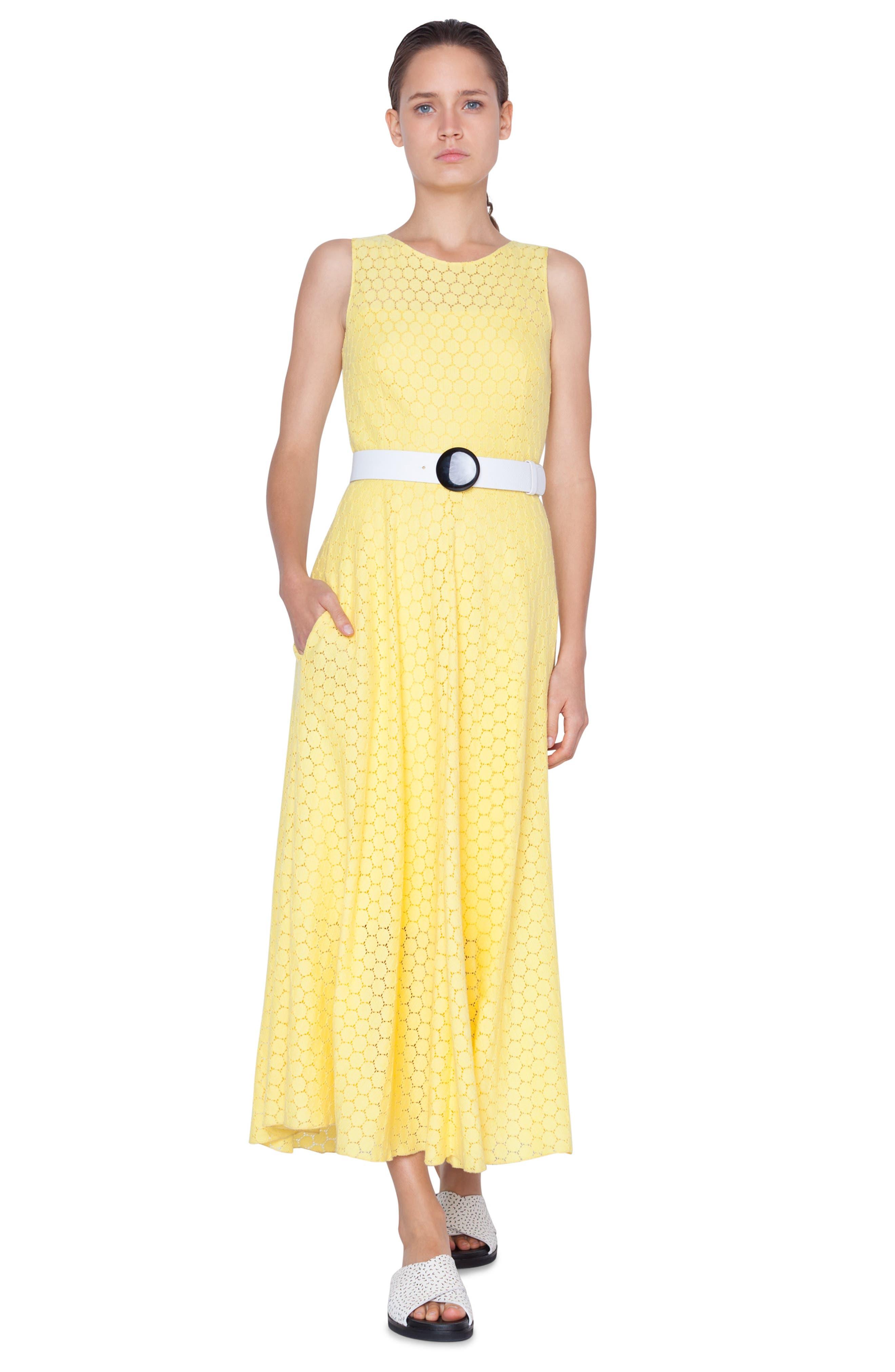 AKRIS PUNTO,                             Belted Lace Dress,                             Alternate thumbnail 3, color,                             LIMONE