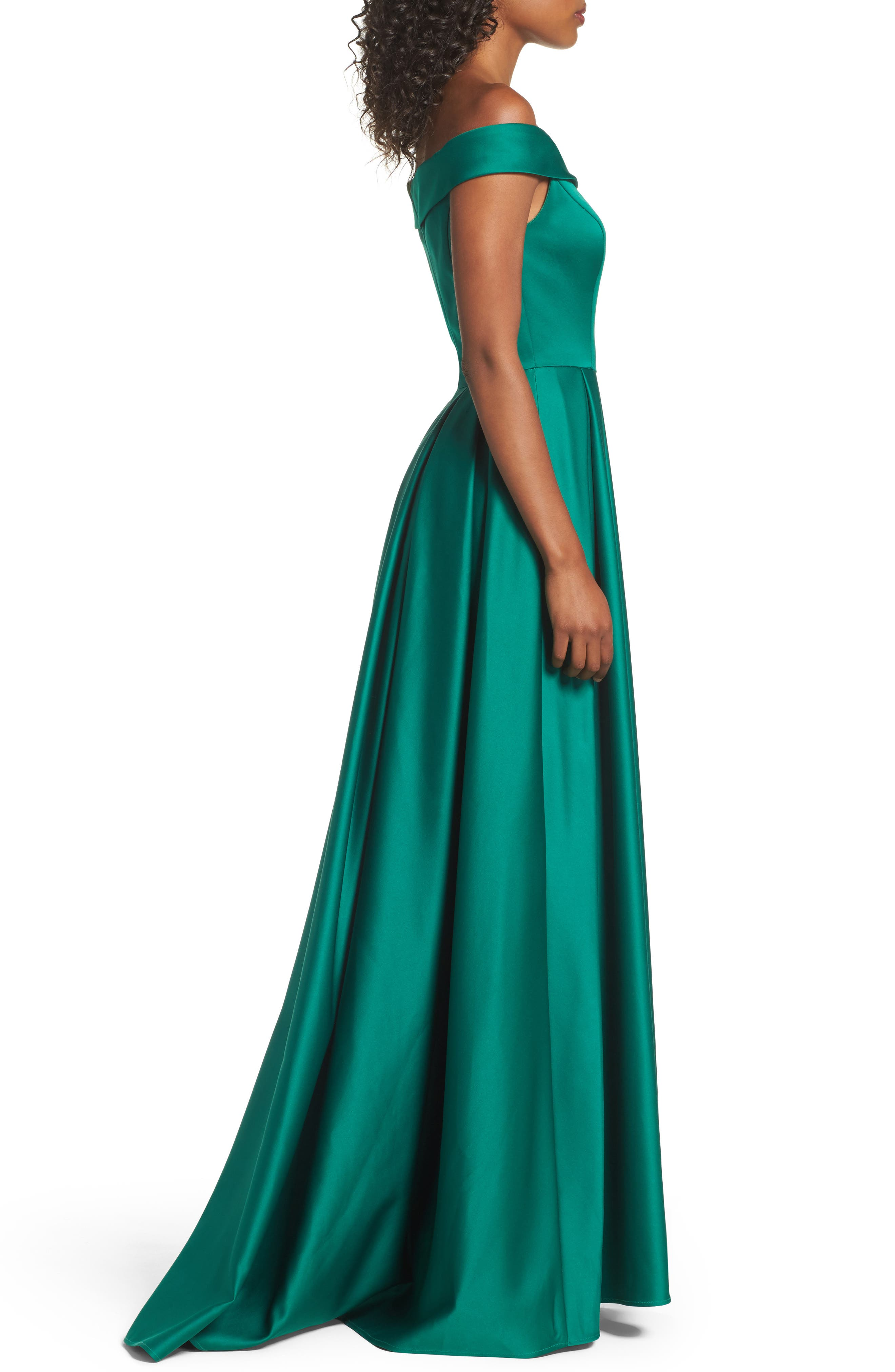 Mikado Off the Shoulder Gown,                             Alternate thumbnail 3, color,                             EMERALD