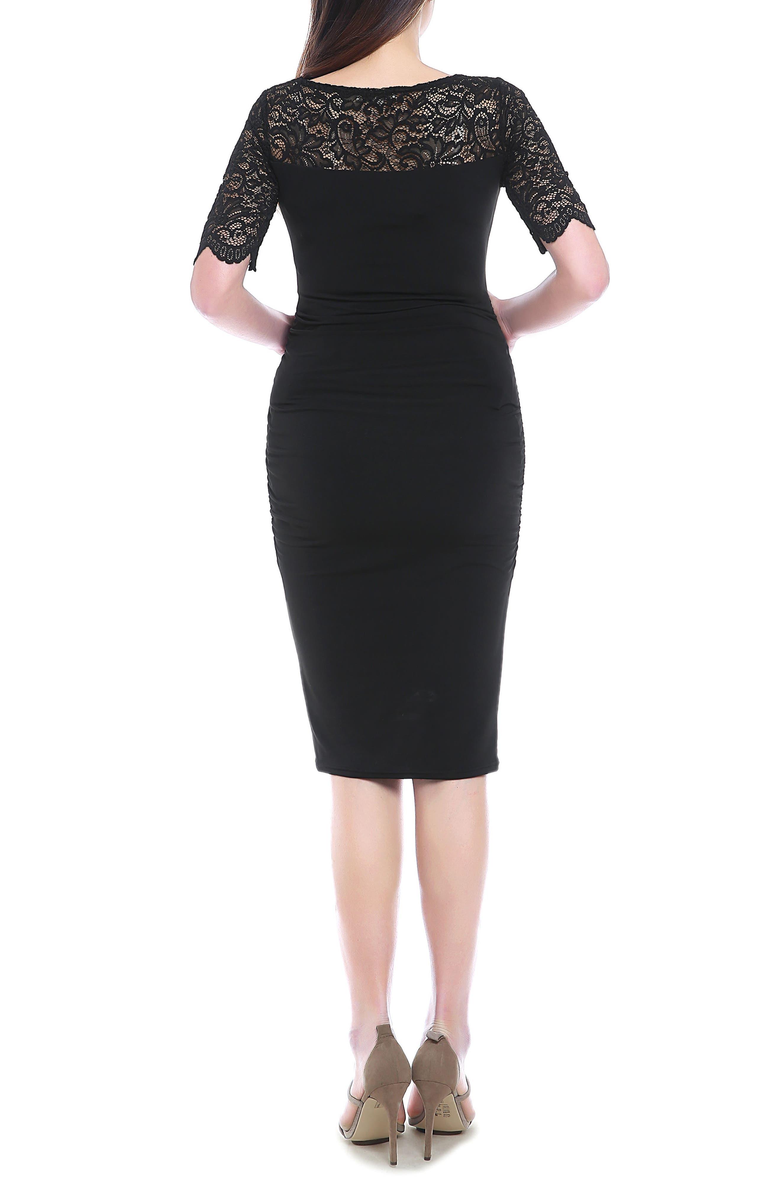 Lace Trim Ruched Maternity Dress,                             Alternate thumbnail 2, color,                             BLACK