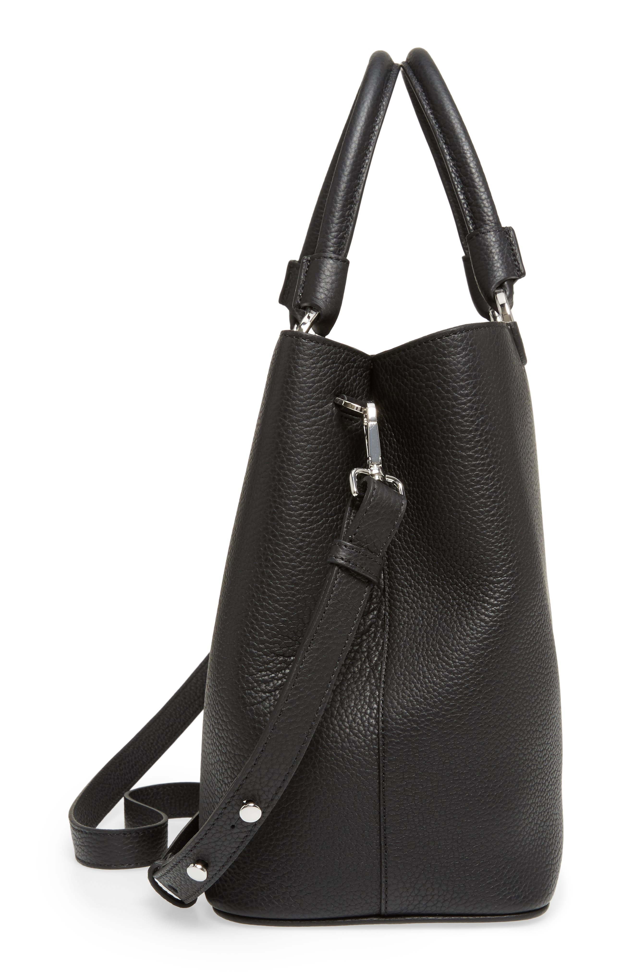 Veronica Cachemire Leather Tote,                             Alternate thumbnail 5, color,                             001