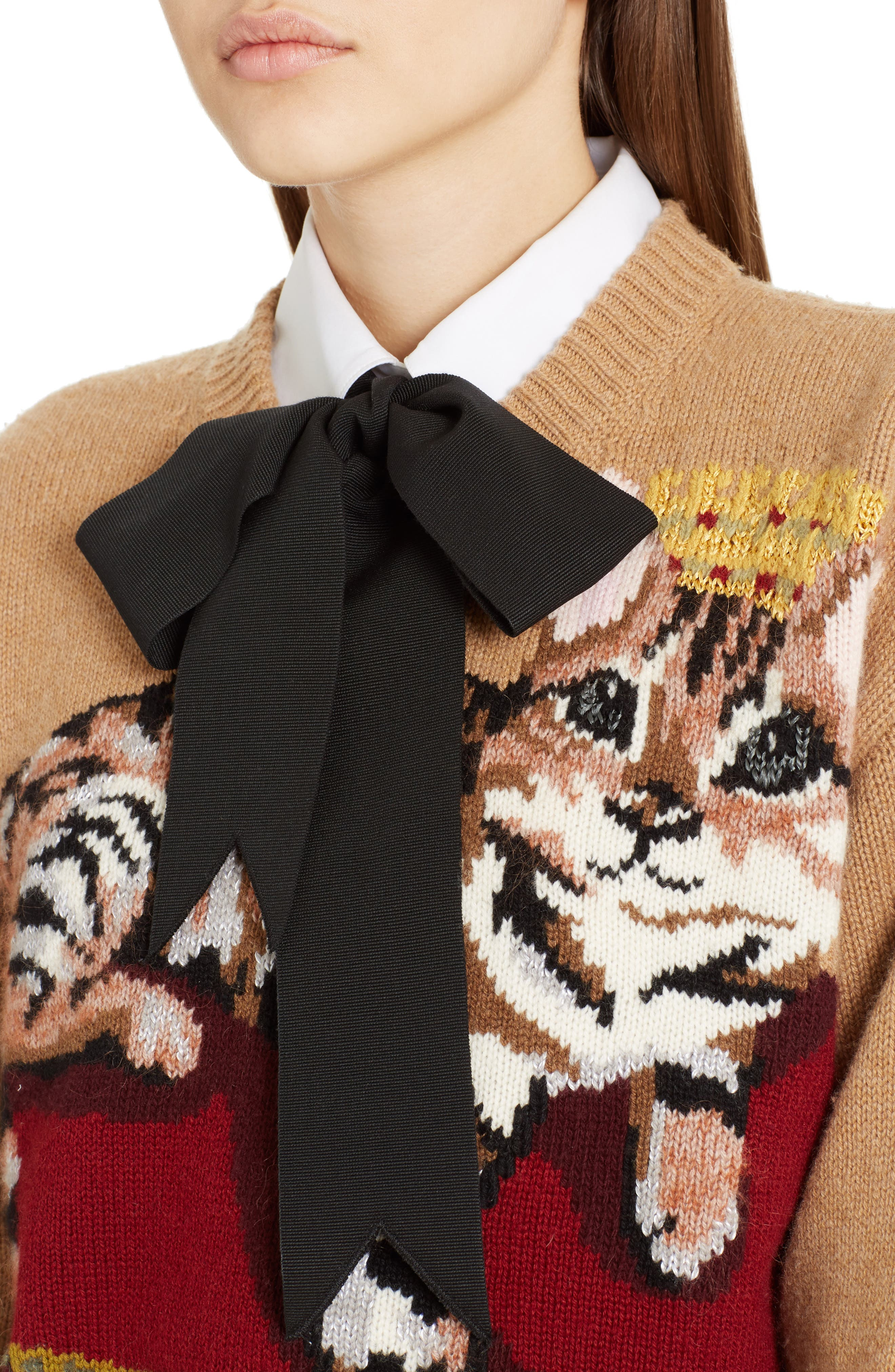 Cat Intarsia Cashmere, Wool & Mohair Blend Sweater,                             Alternate thumbnail 4, color,