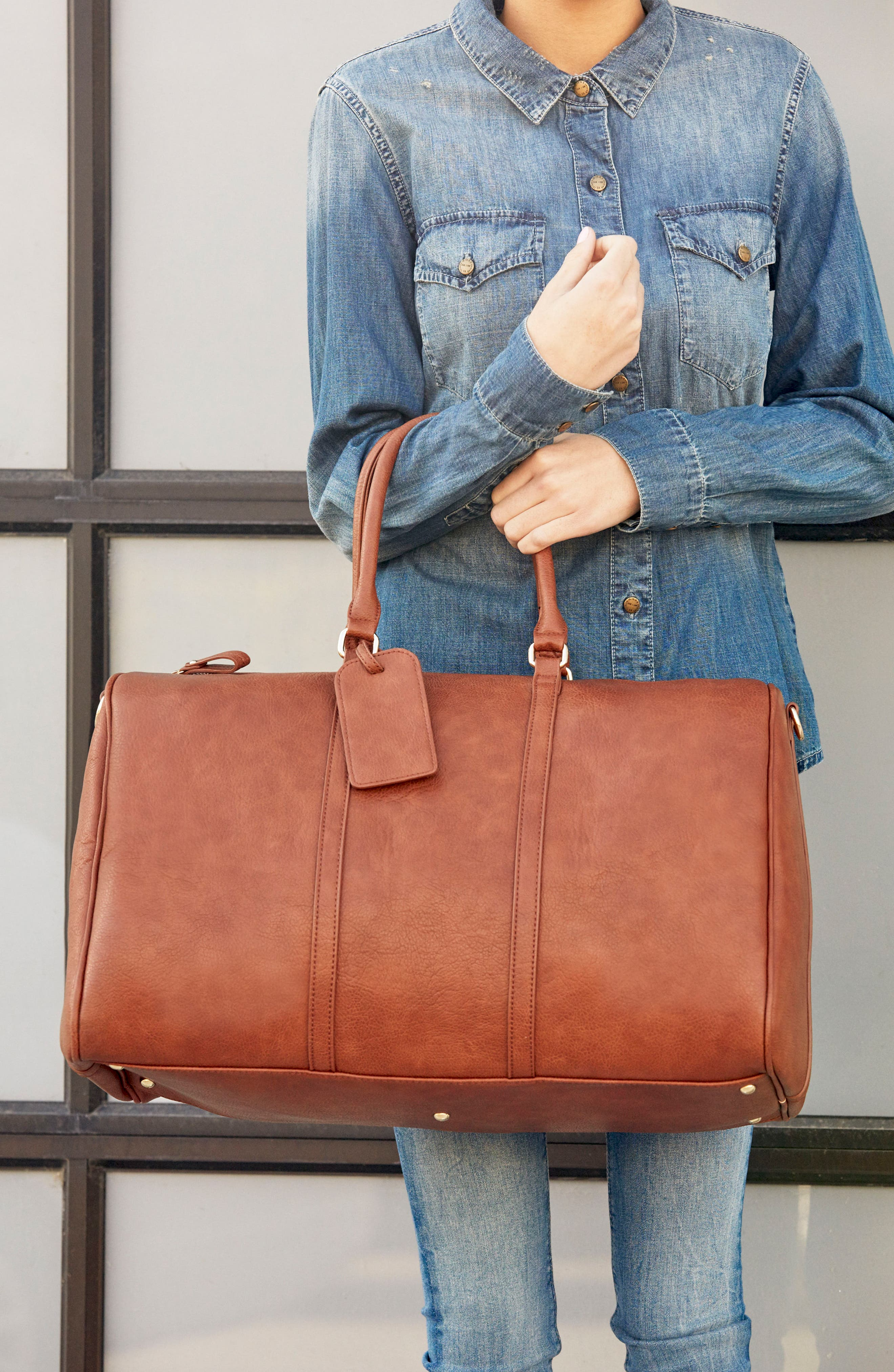 SOLE SOCIETY,                             'Lacie' Faux Leather Duffel Bag,                             Alternate thumbnail 5, color,                             BROWN
