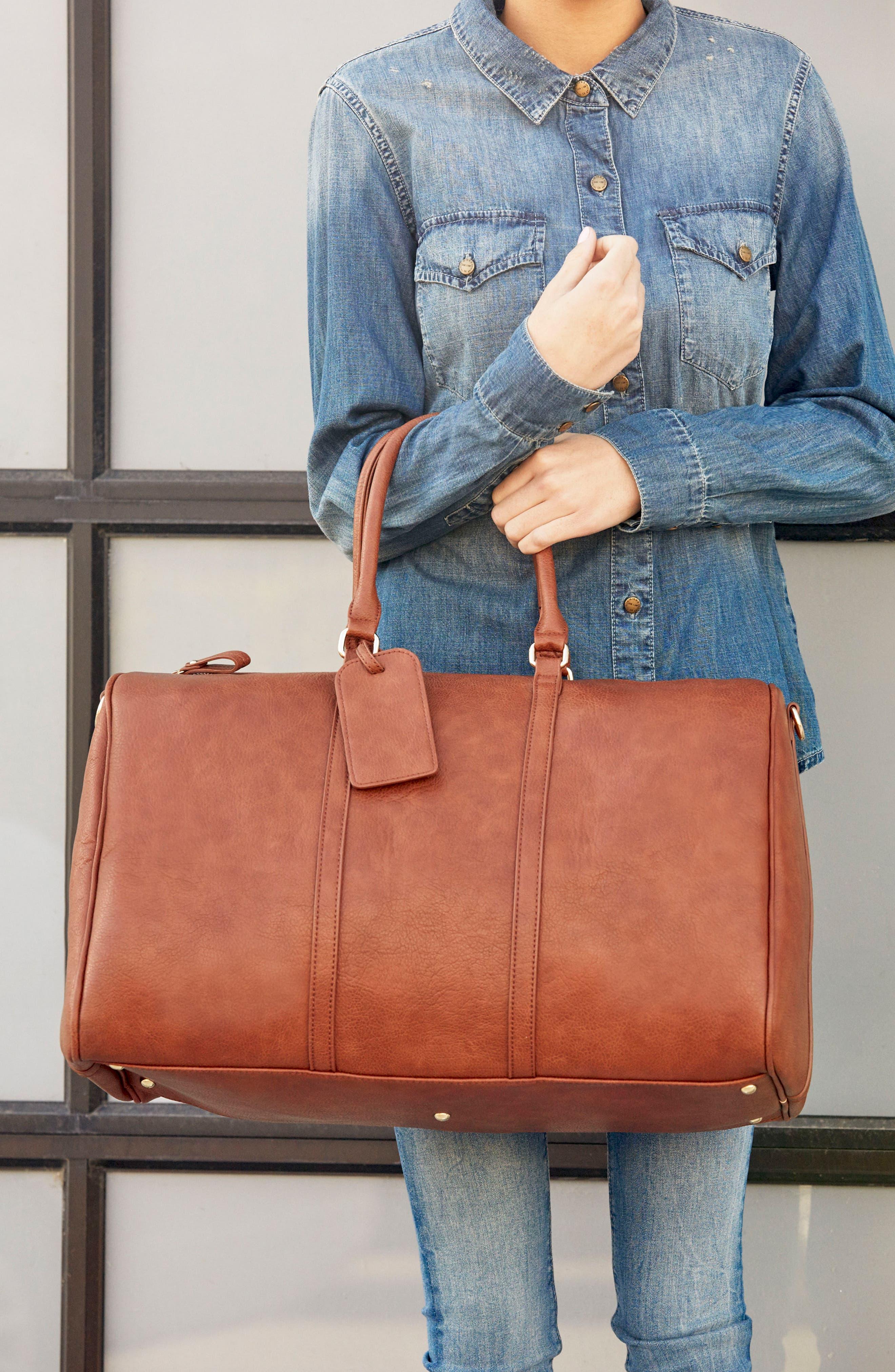 'Lacie' Faux Leather Duffel Bag,                             Alternate thumbnail 5, color,                             BROWN