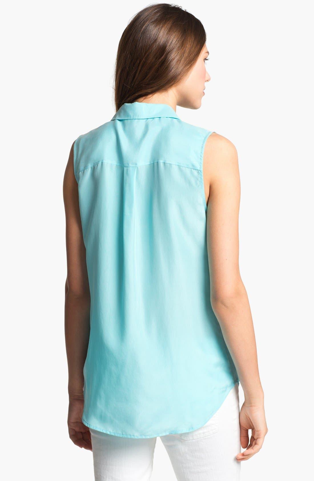 'Slim Signature' Sleeveless Silk Shirt,                             Alternate thumbnail 118, color,