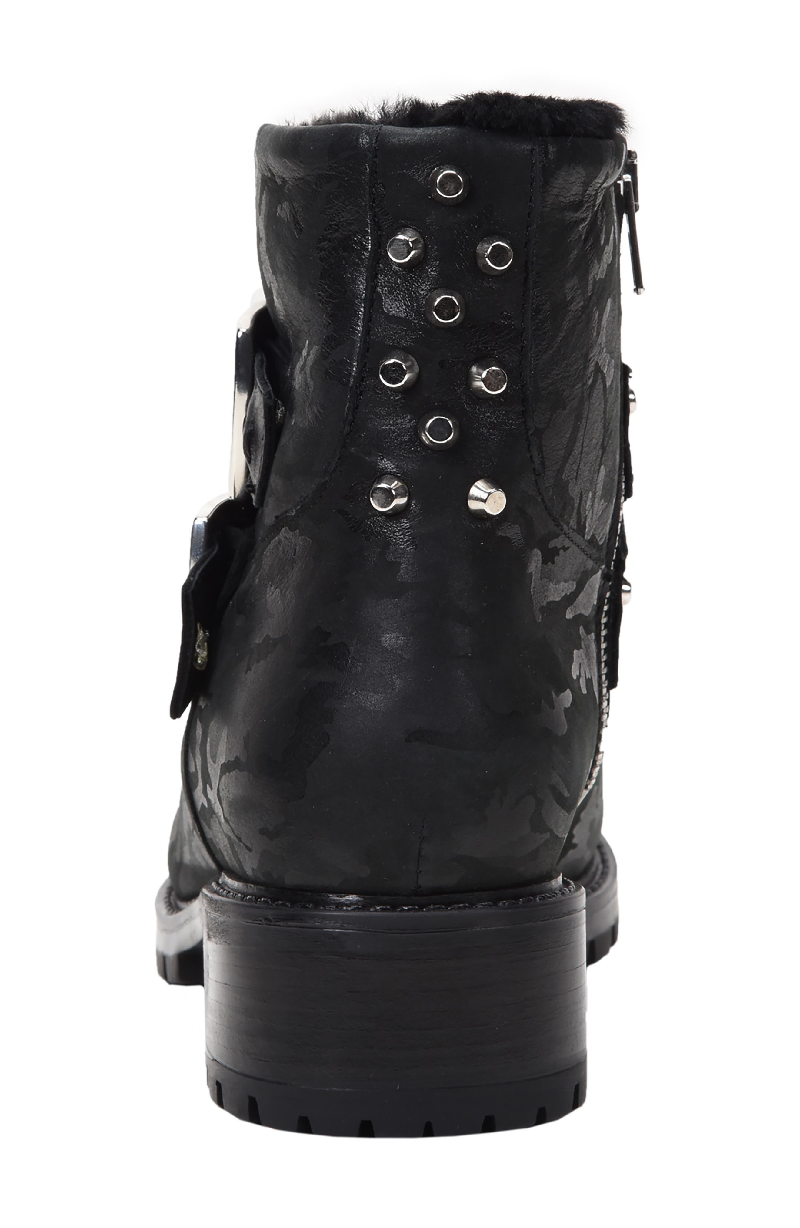 Stefana SP Genuine Shearling Lined Waterproof Bootie,                             Alternate thumbnail 6, color,                             BLACK CAMO LEATHER