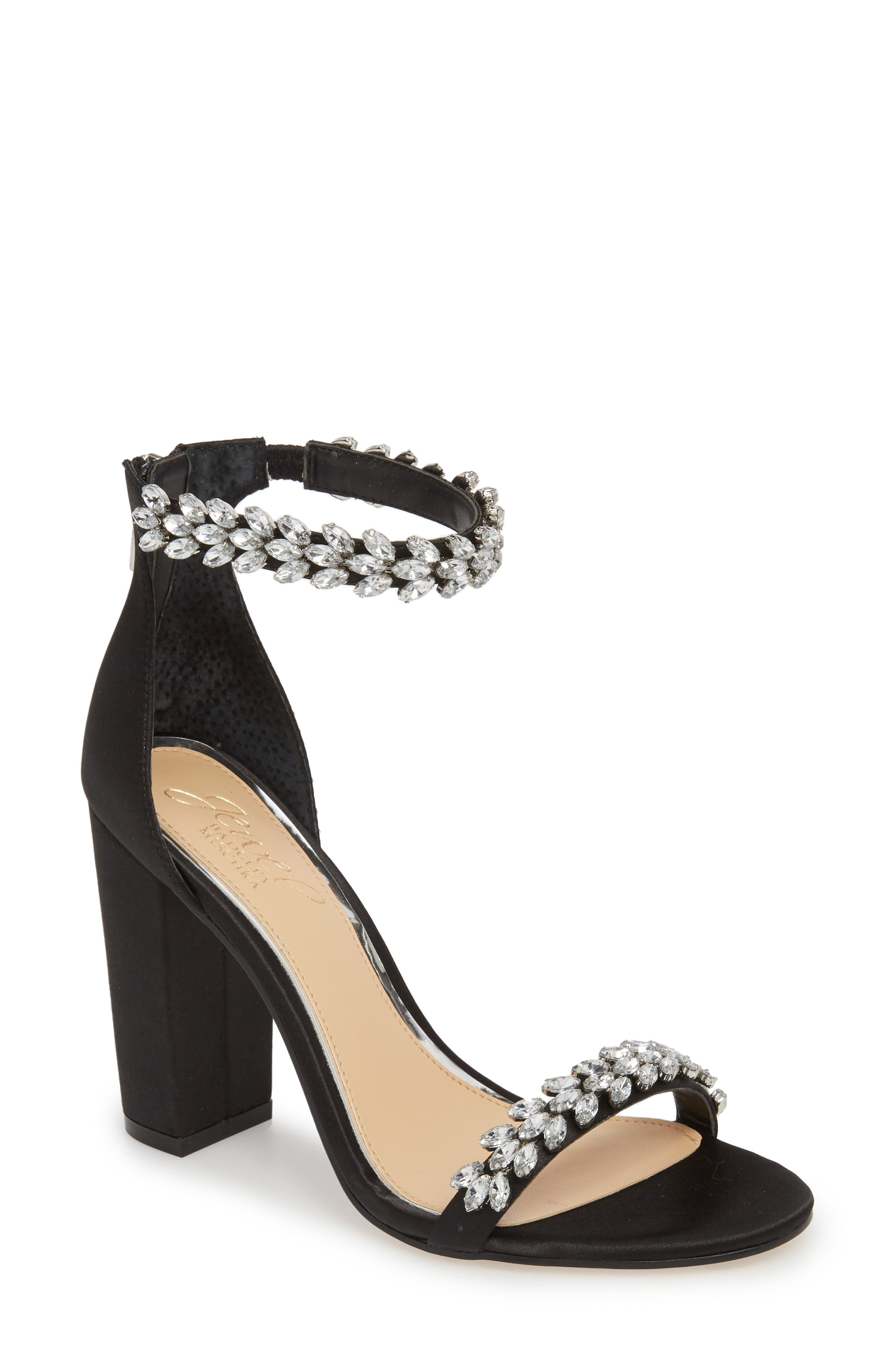Jewel by Badgley Mischka Mayra Embellished Ankle Strap Sandal,                             Main thumbnail 1, color,                             BLACK SATIN