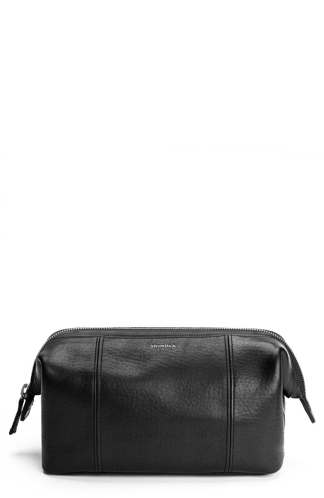 Leather Travel Kit,                             Main thumbnail 1, color,                             001