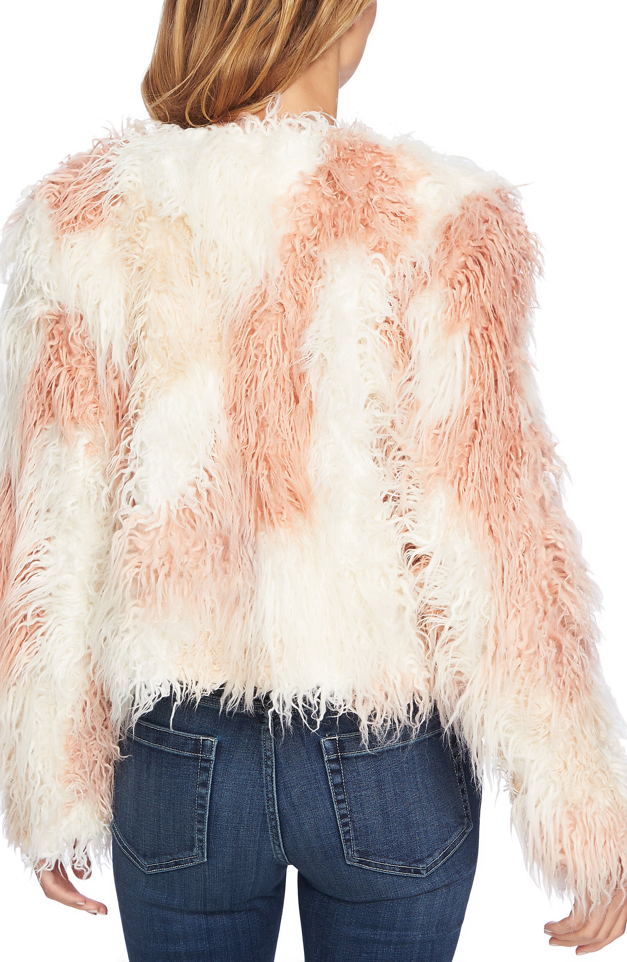 Shaggy Patchwork Faux Fur Jacket,                             Alternate thumbnail 2, color,                             ANTIQUE WHITE