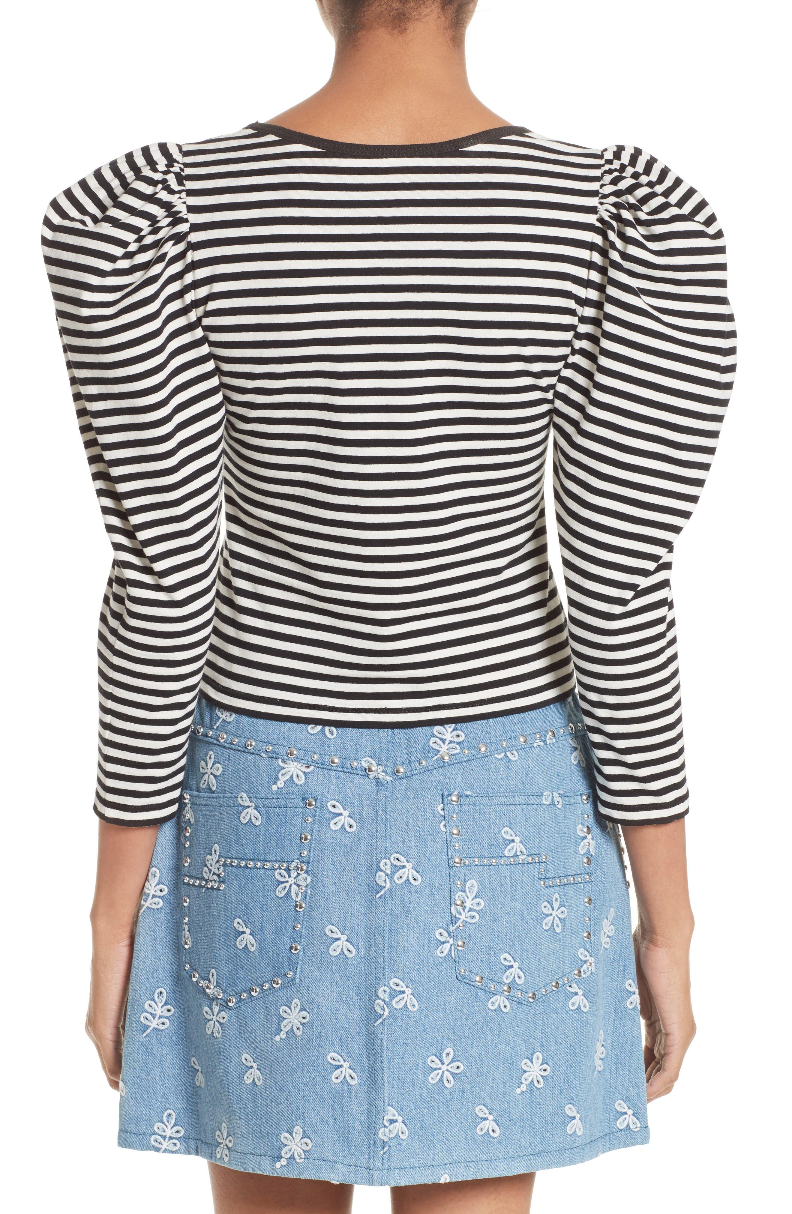 Stripe Cotton Puff Sleeve Top,                             Alternate thumbnail 2, color,                             002
