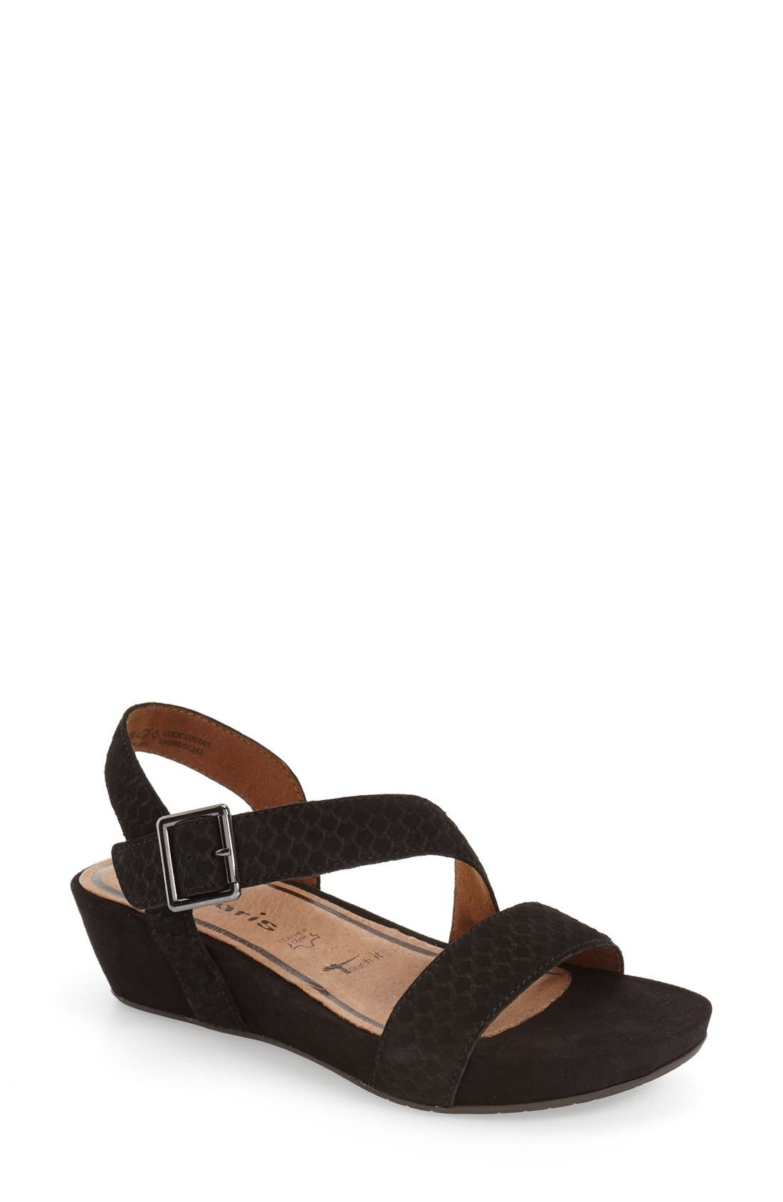 'Eda' Platform Wedge Sandal,                         Main,                         color, 001