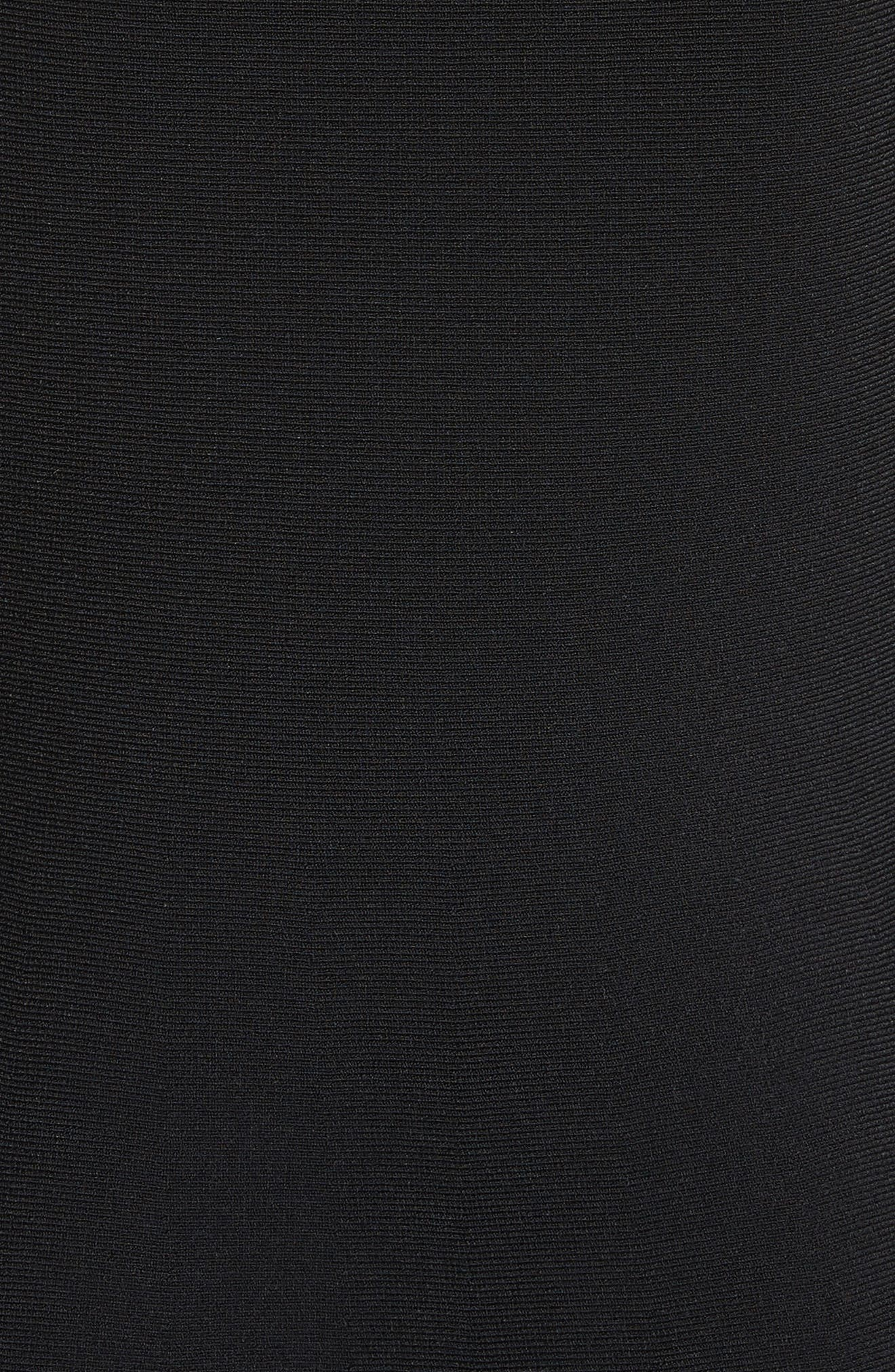 Ruffle Neckline Knit Dress,                             Alternate thumbnail 5, color,                             002