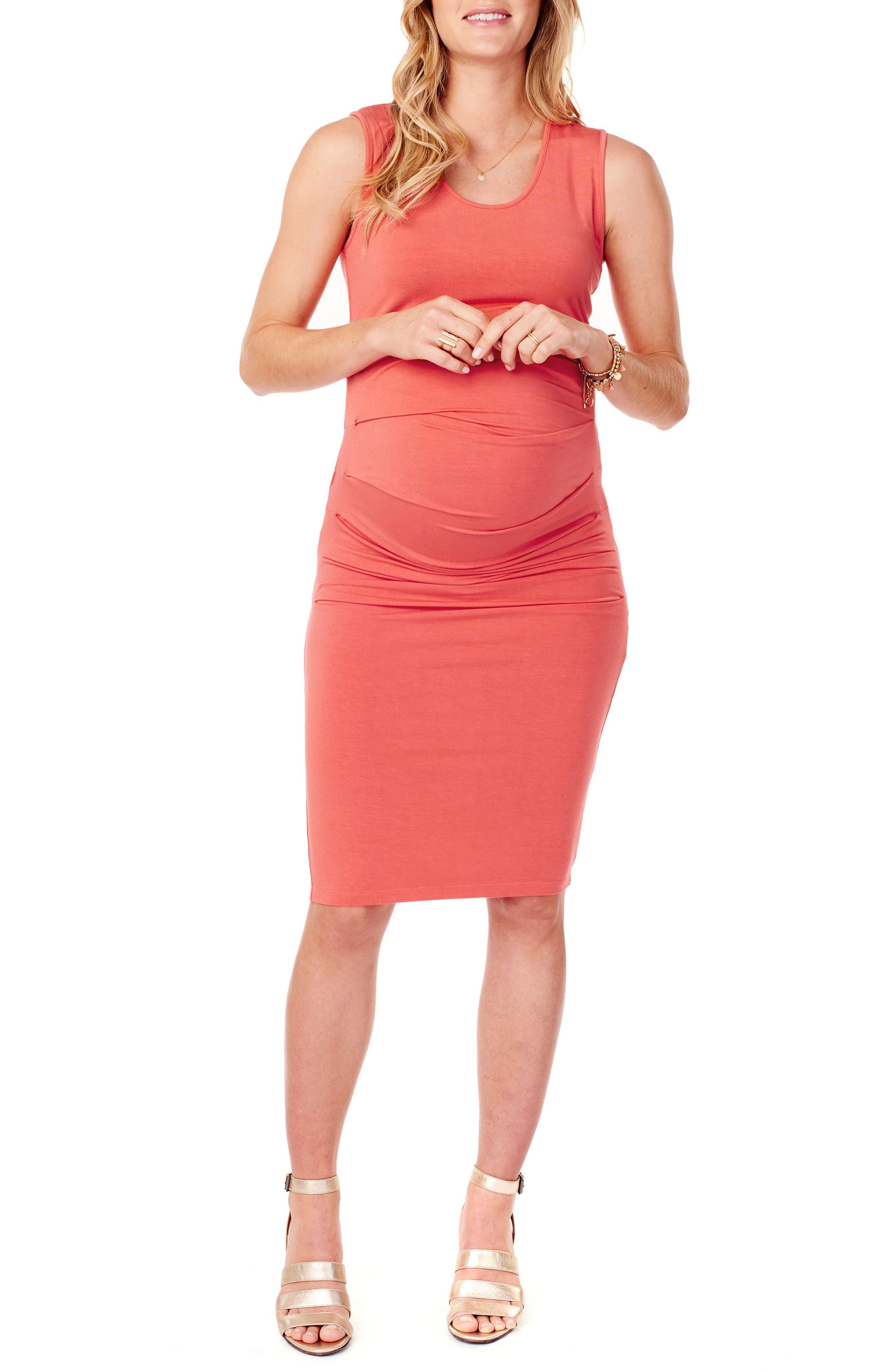 Ingrid & Isabel Ruched Maternity Tank Dress, Coral