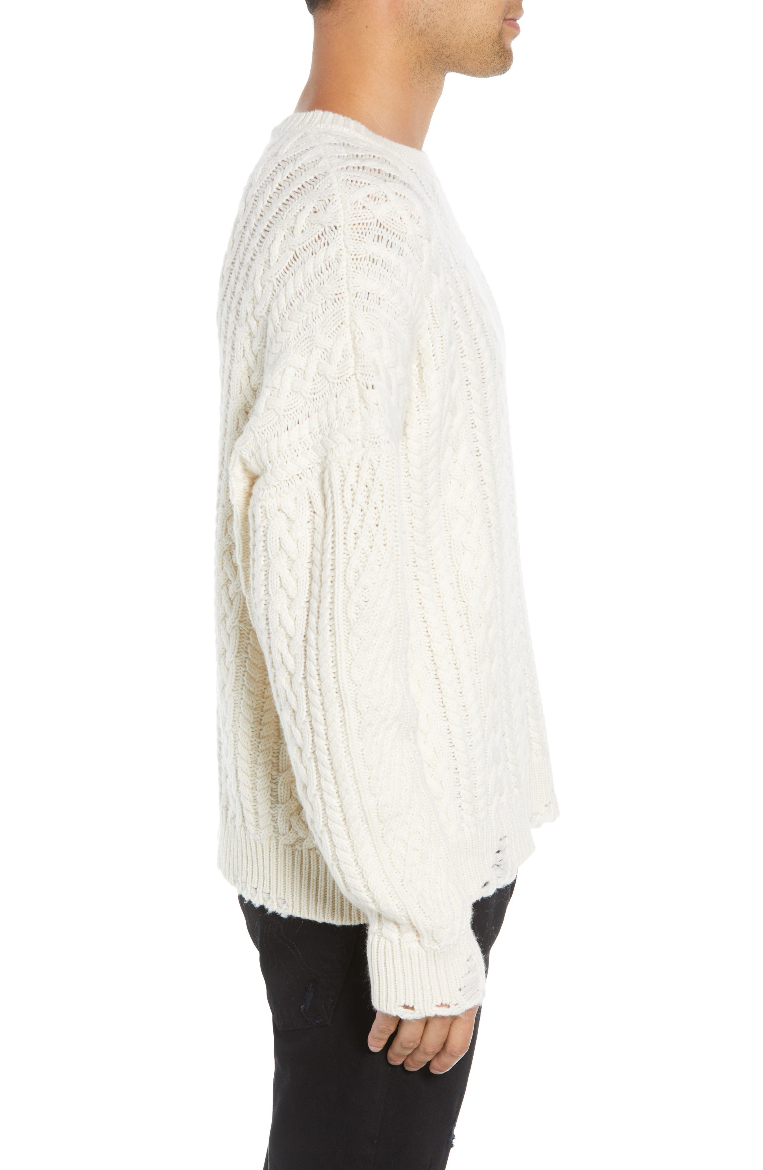 Oversize Distressed Wool Blend Sweater,                             Alternate thumbnail 3, color,                             BEIGE/ WHITE