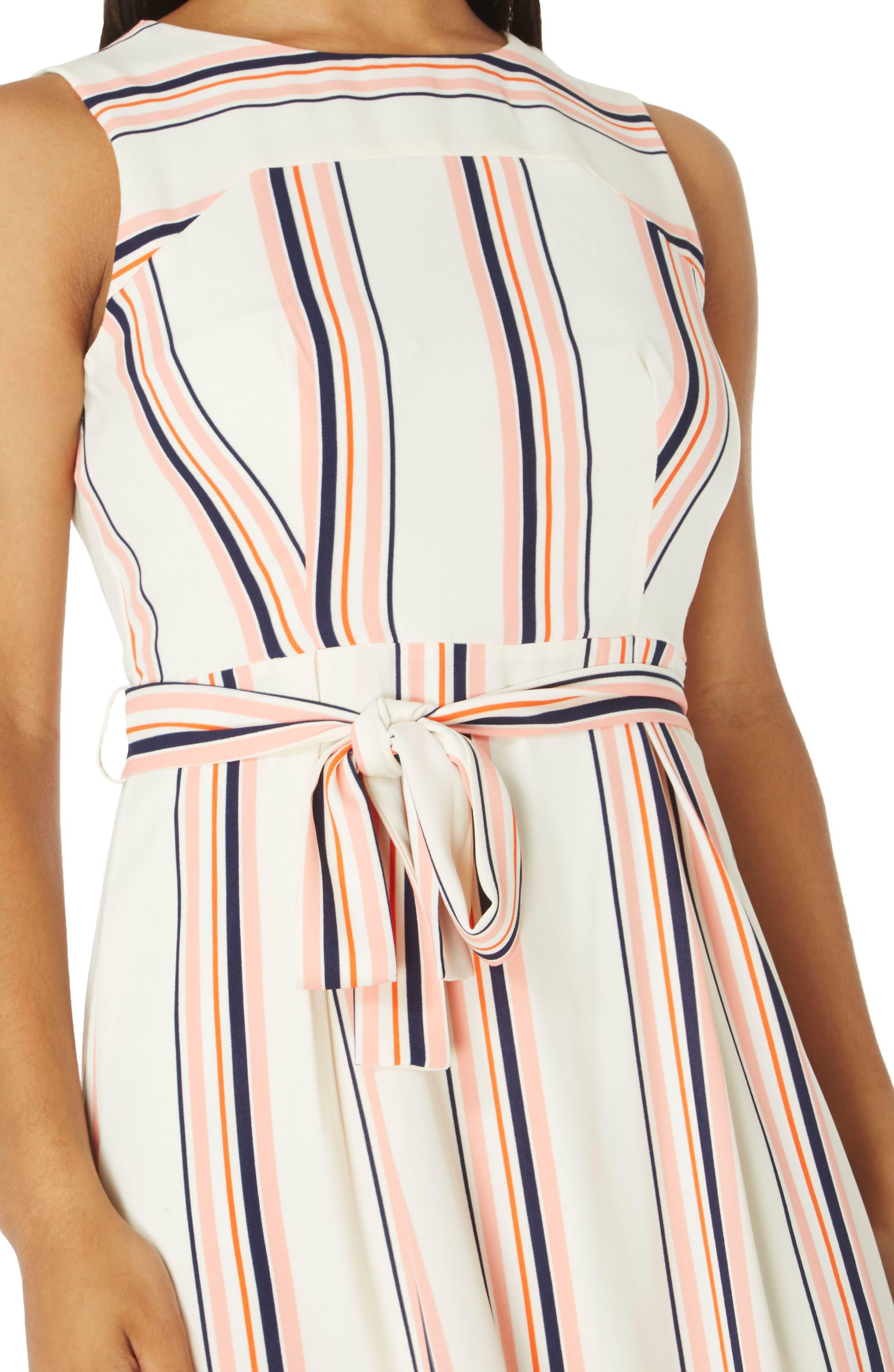 Stripe Midi Dress,                             Alternate thumbnail 3, color,                             101