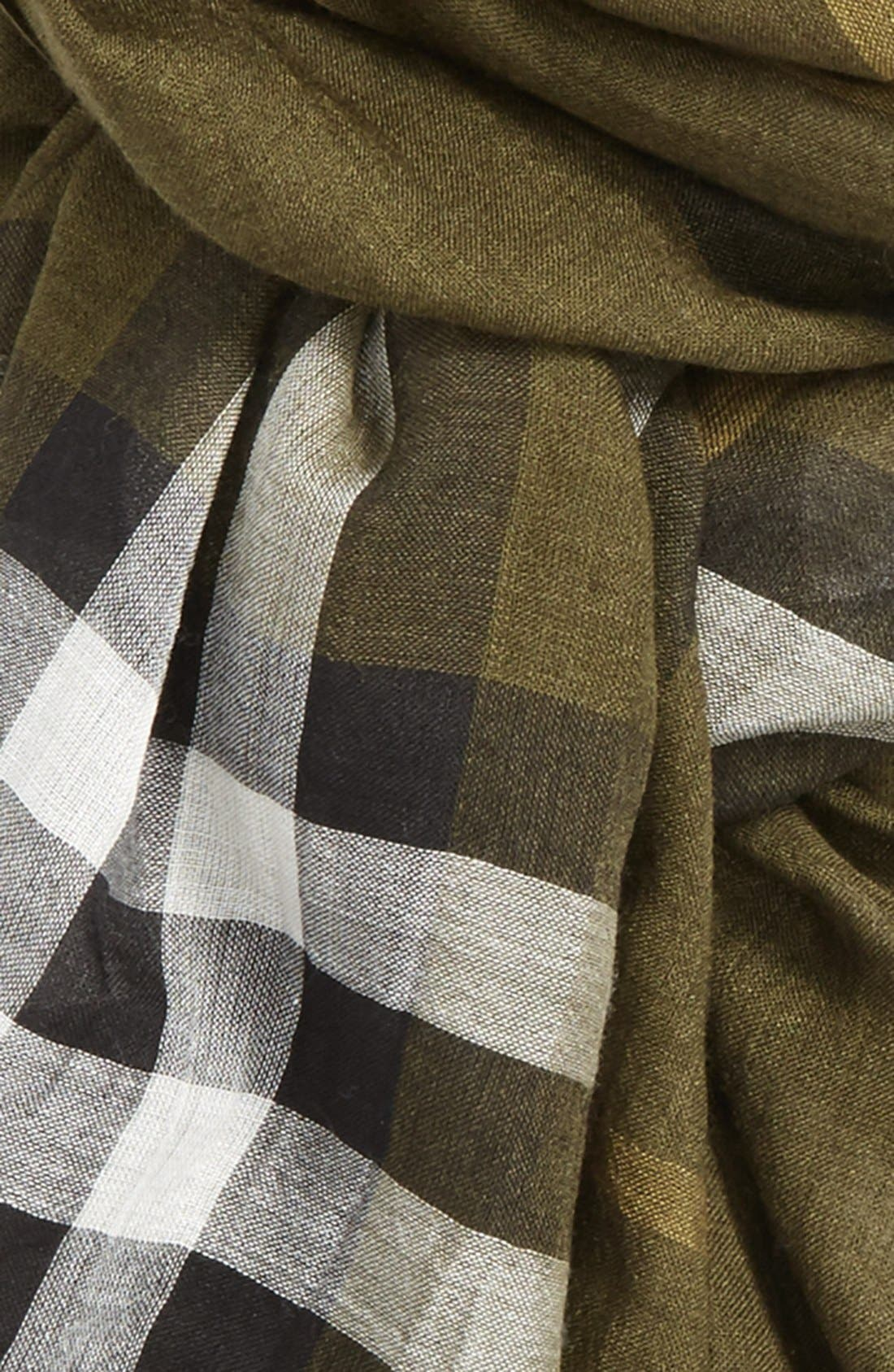 Giant Check Print Wool & Silk Scarf,                             Alternate thumbnail 128, color,