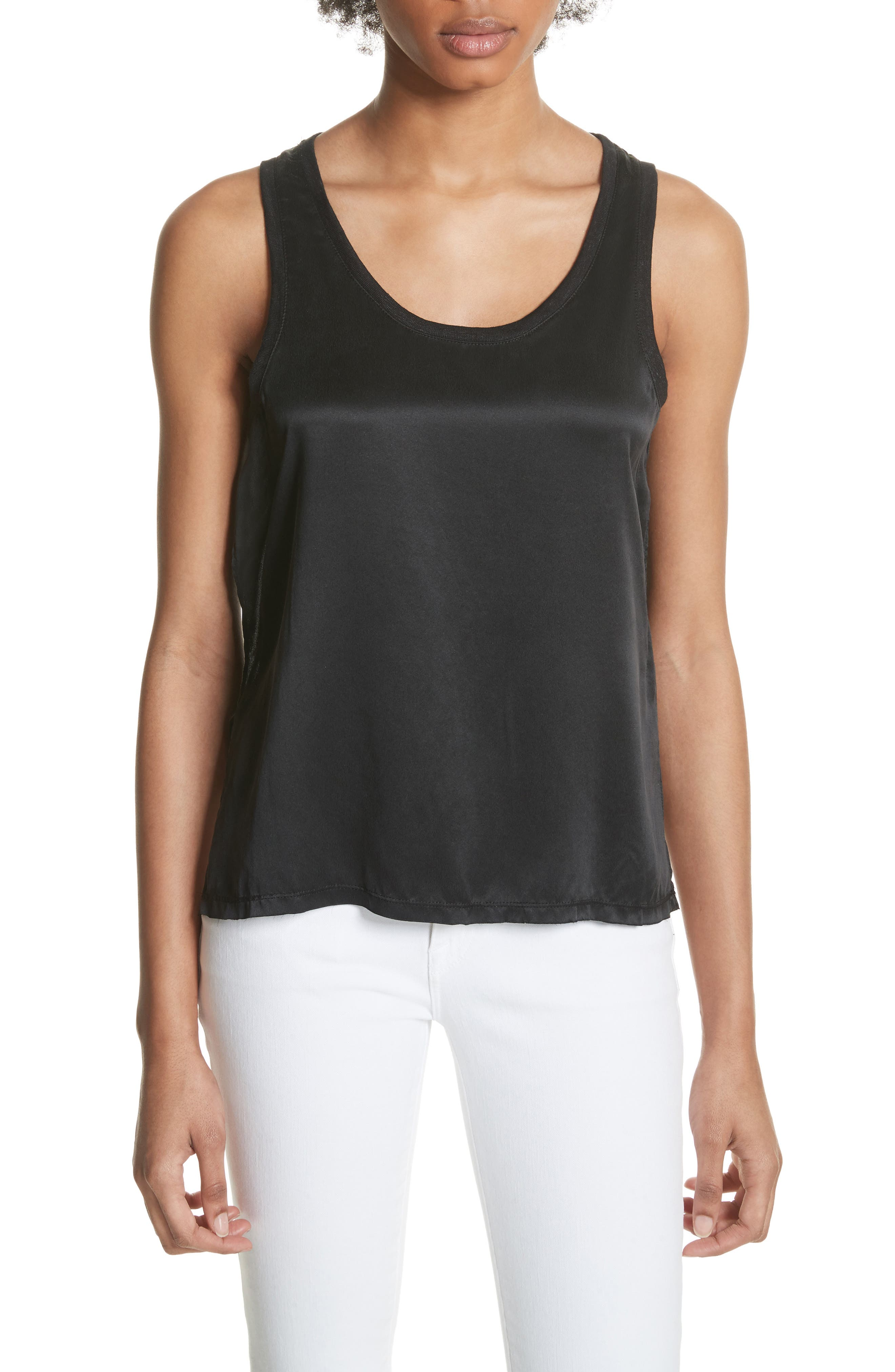 Silk & Linen Tank,                             Main thumbnail 1, color,                             001