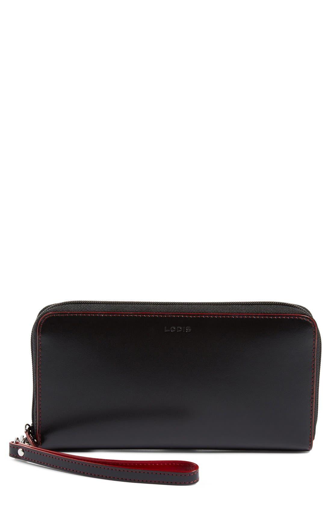 Lodis Audrey RFID Leather Wristlet,                             Main thumbnail 1, color,                             001