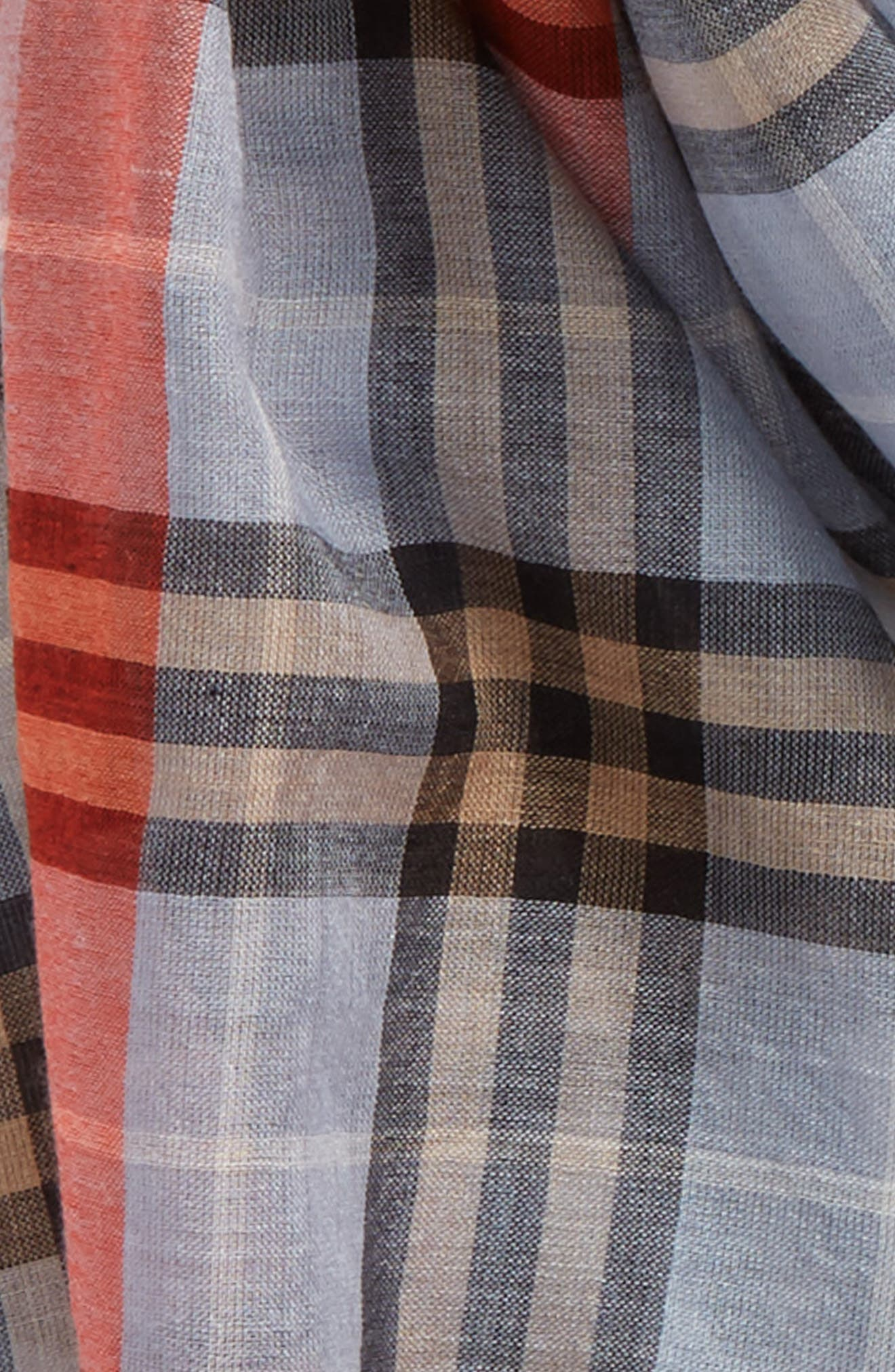 Border Vintage Check Wool & Silk Scarf,                             Alternate thumbnail 4, color,                             450